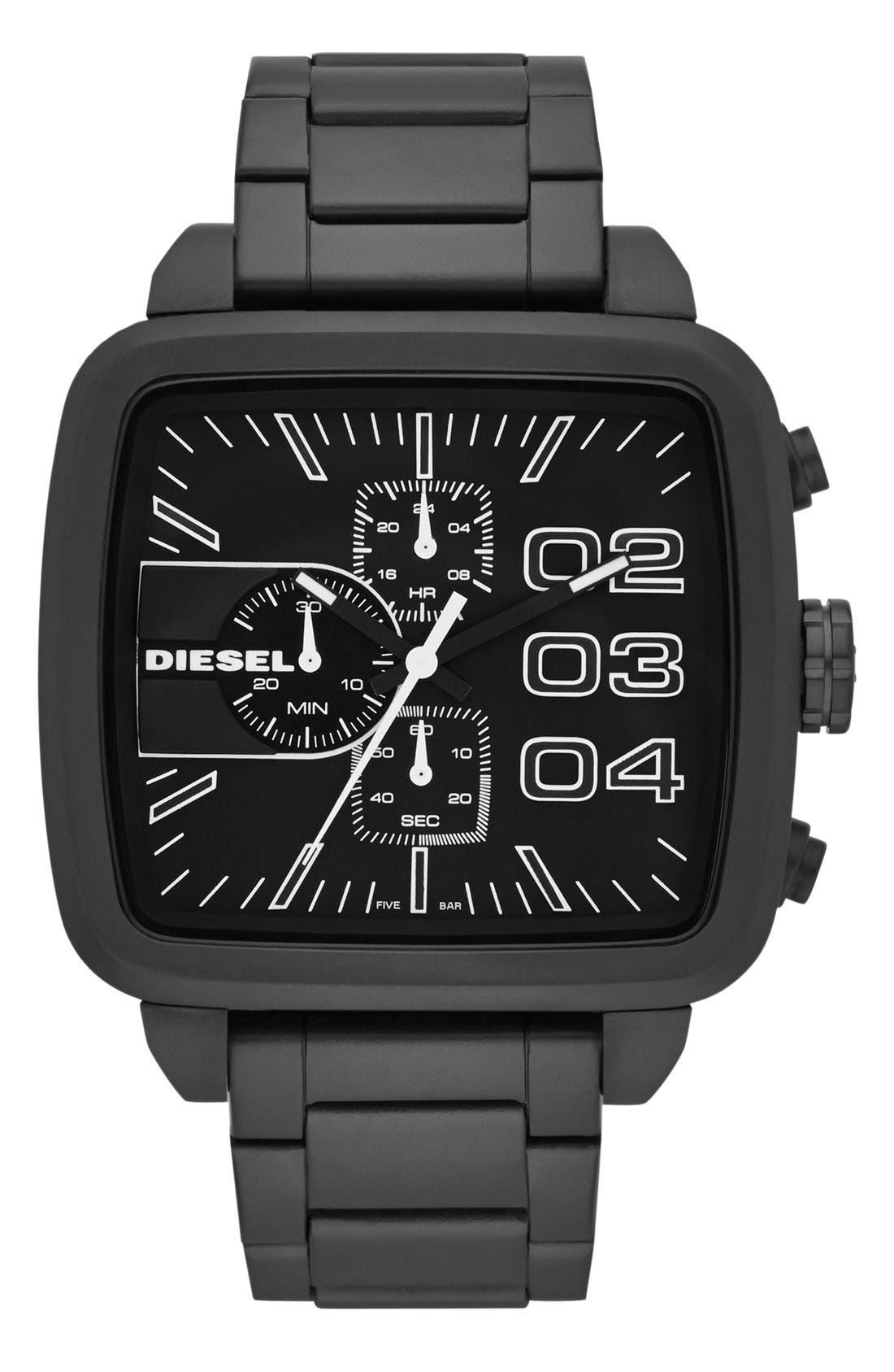 Alternate Image 1 Selected - DIESEL® 'Square Franchise' Bracelet Watch, 57mm x 48mm