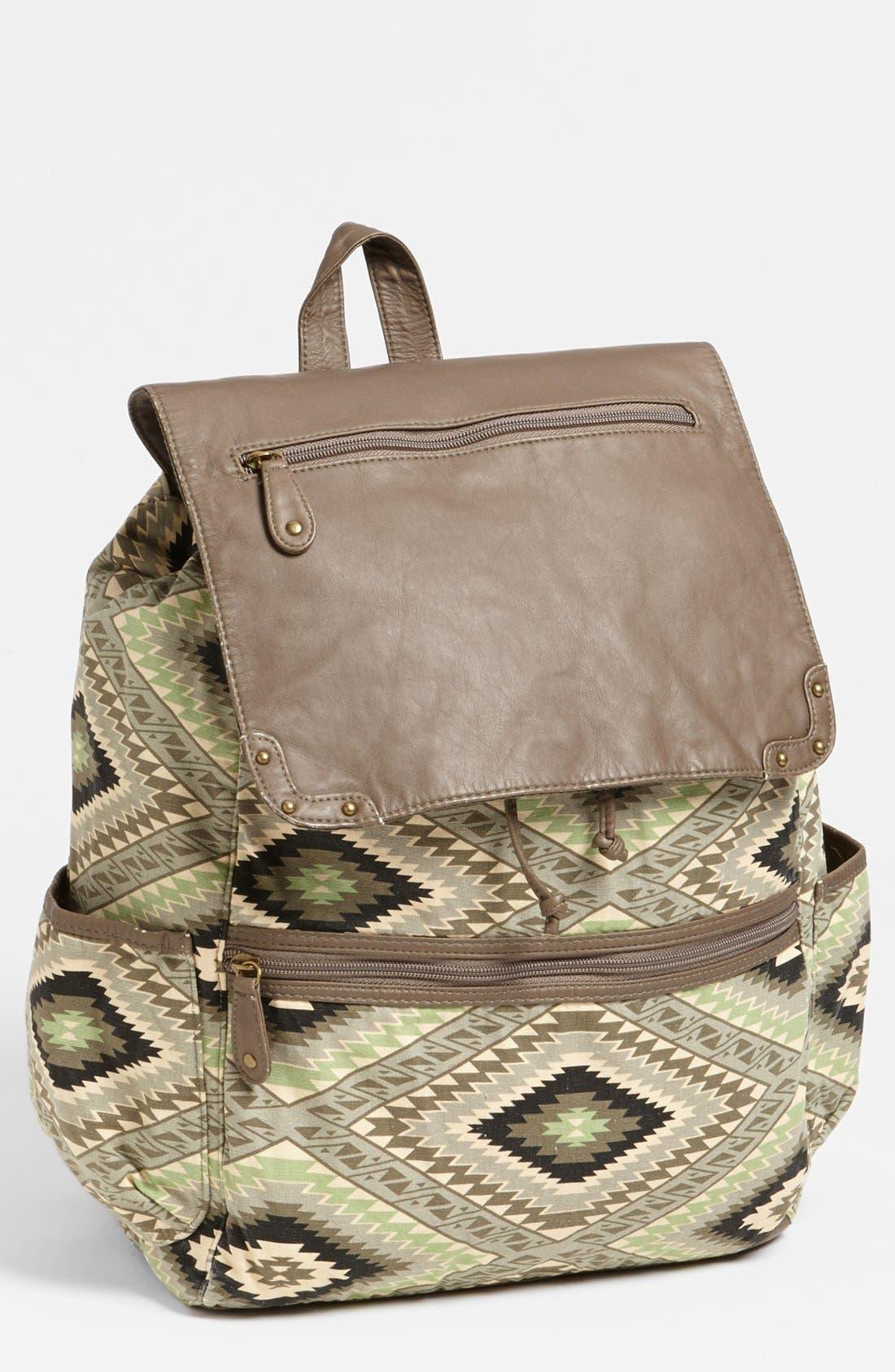 Alternate Image 1 Selected - Lulu Faux Leather Flap Print Backpack (Juniors)
