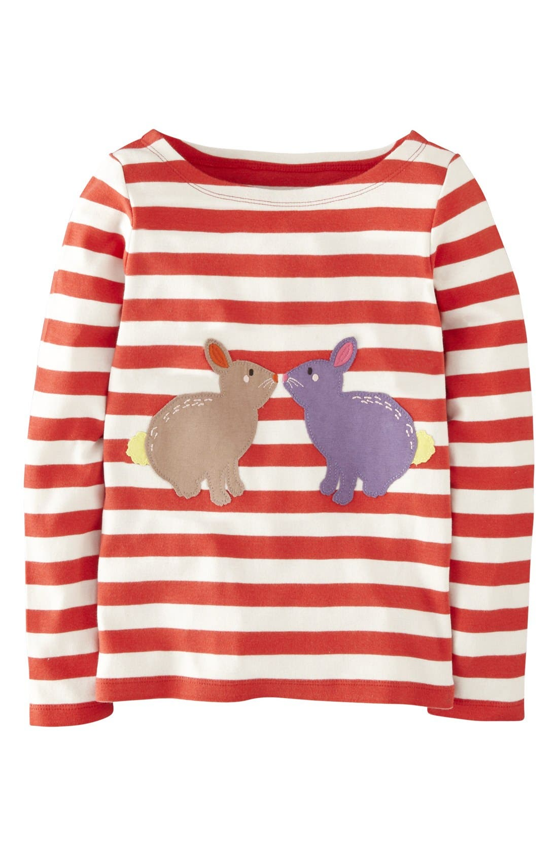 Alternate Image 1 Selected - Mini Boden 'Stripy Animal' Tee (Toddler Girls)