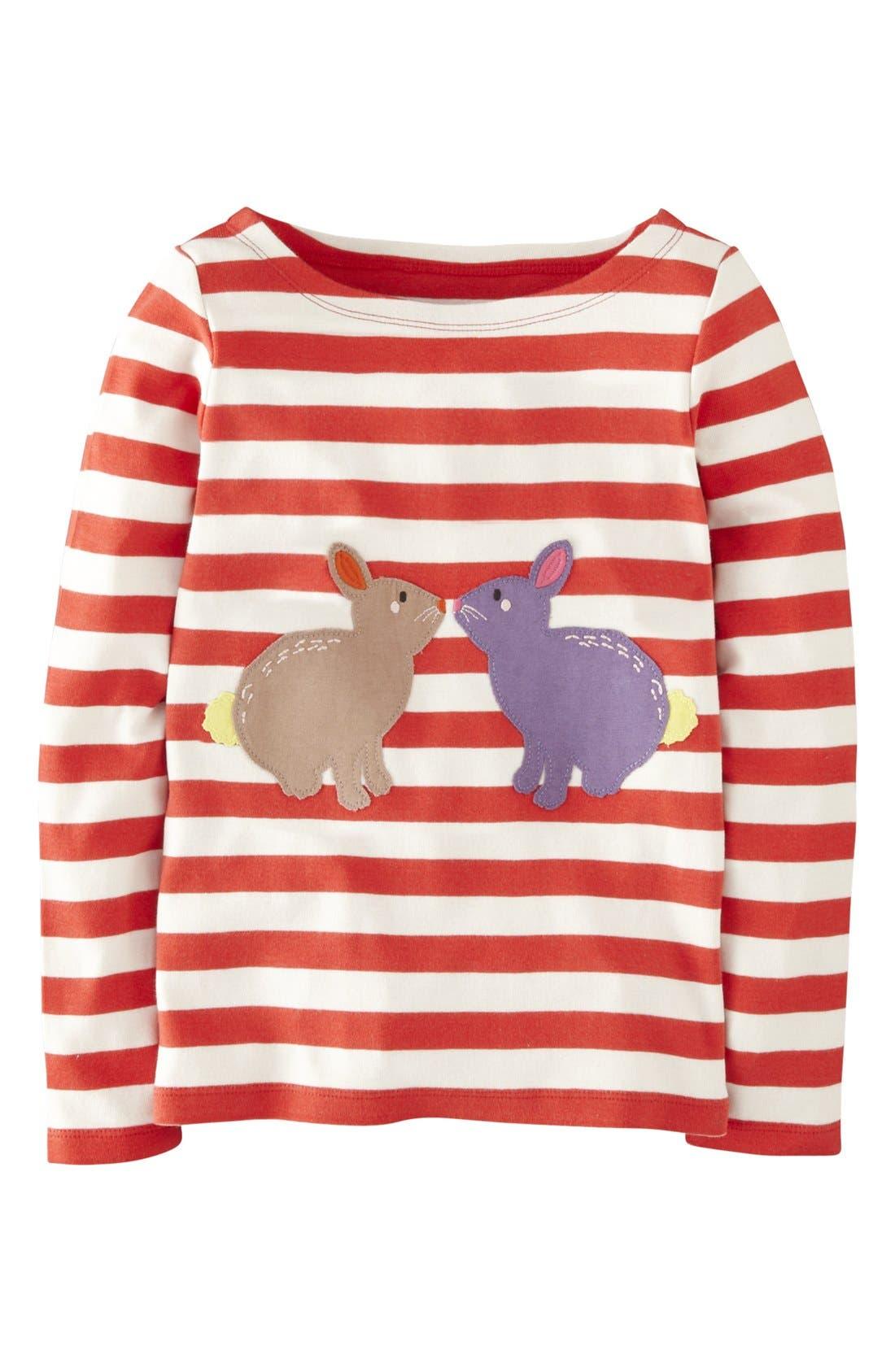Main Image - Mini Boden 'Stripy Animal' Tee (Toddler Girls)