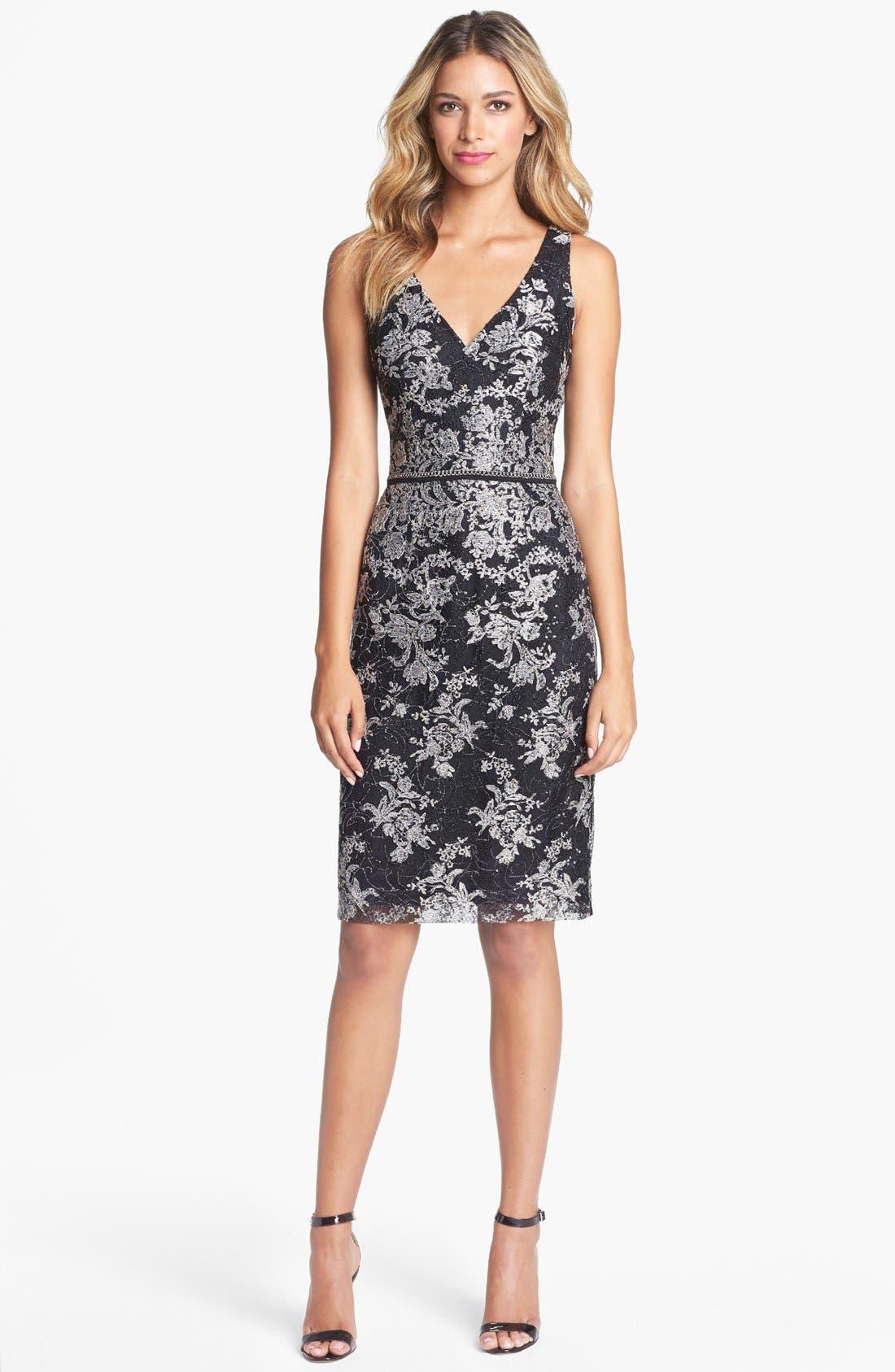 Main Image - David Meister Metallic Lace Sheath Dress