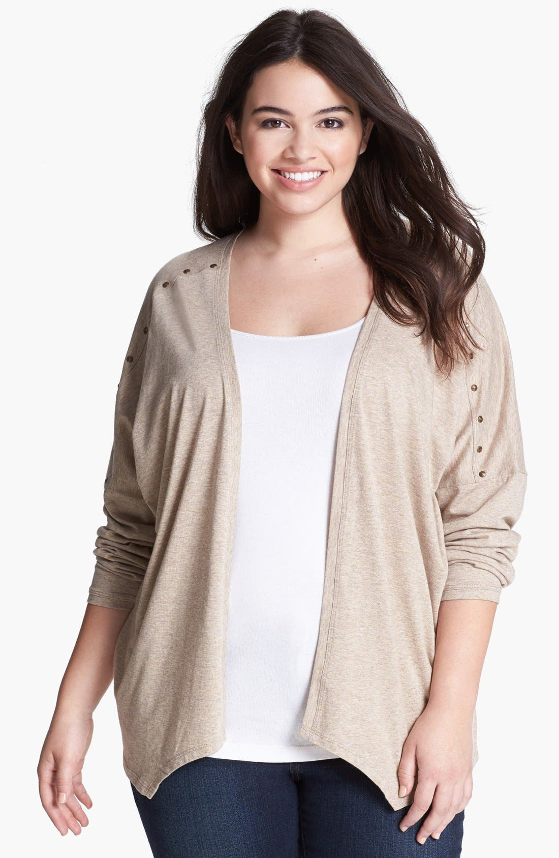 Main Image - Kische Studded Open Front Cardigan (Plus Size)