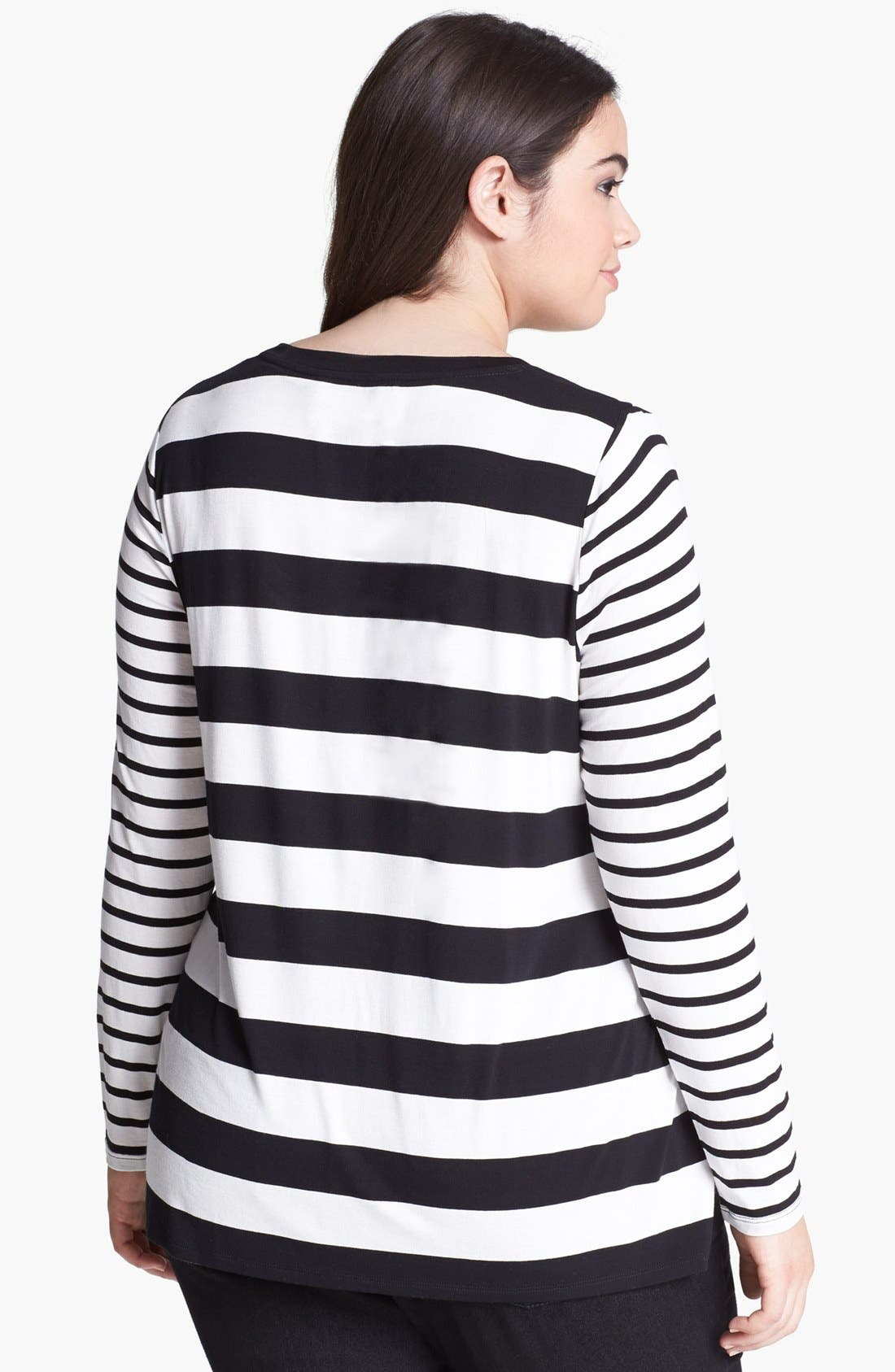 Alternate Image 2  - Two by Vince Camuto Mix Stripe Tee (Plus Size)