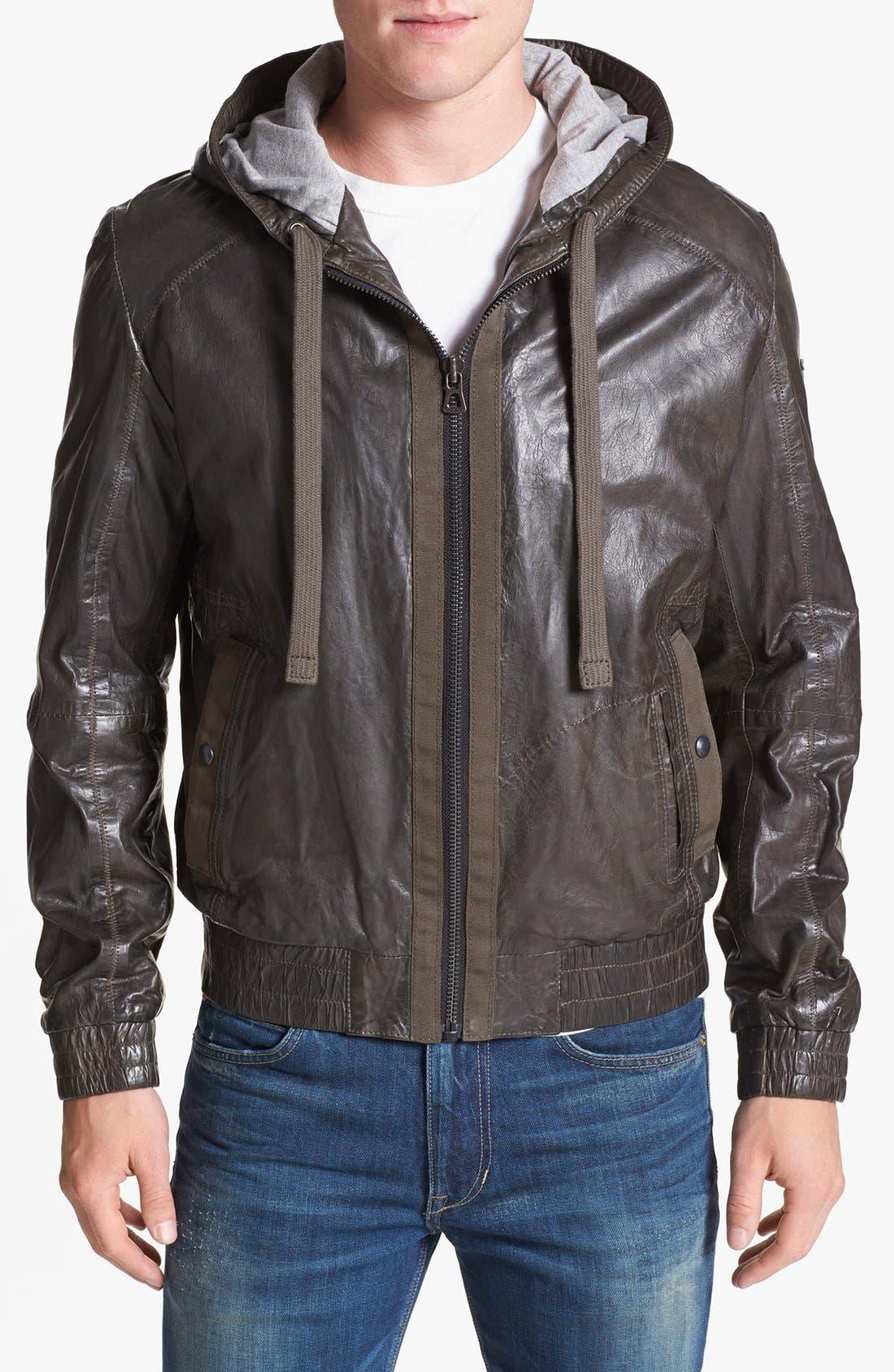 Alternate Image 1  - BOSS Orange 'Jonger' Hooded Leather Jacket