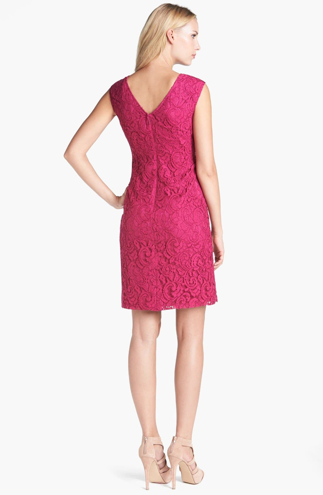 Alternate Image 2  - Adrianna Papell Ruffled Lace Sheath Dress