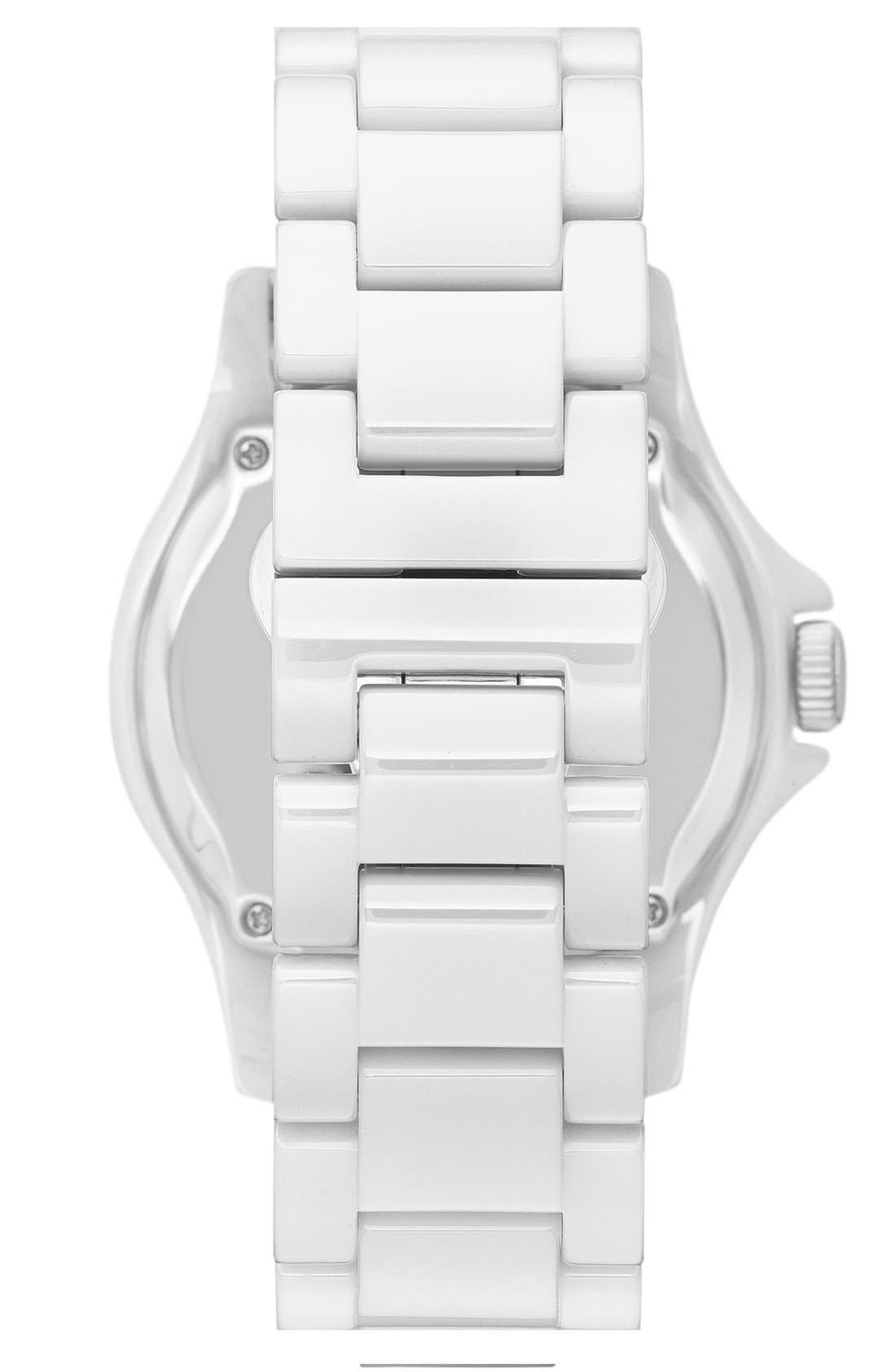Alternate Image 2  - Fossil 'Riley' Crystal Bezel Ceramic Bracelet Watch, 40mm