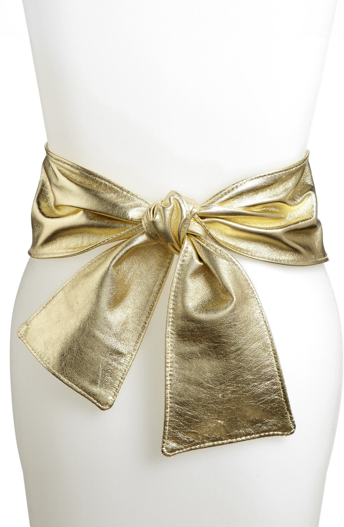 Main Image - St. John Collection Wide Metallic Leather Tie Belt