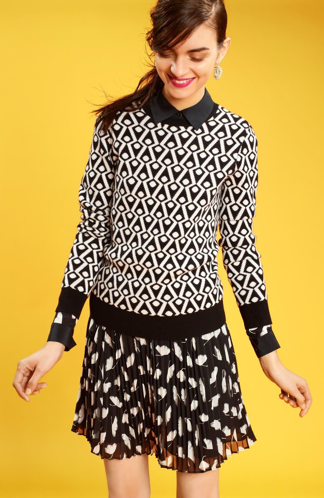 Alternate Image 5  - Miss Wu 'Delicate Leaf' Print Chiffon Skirt (Nordstrom Exclusive)