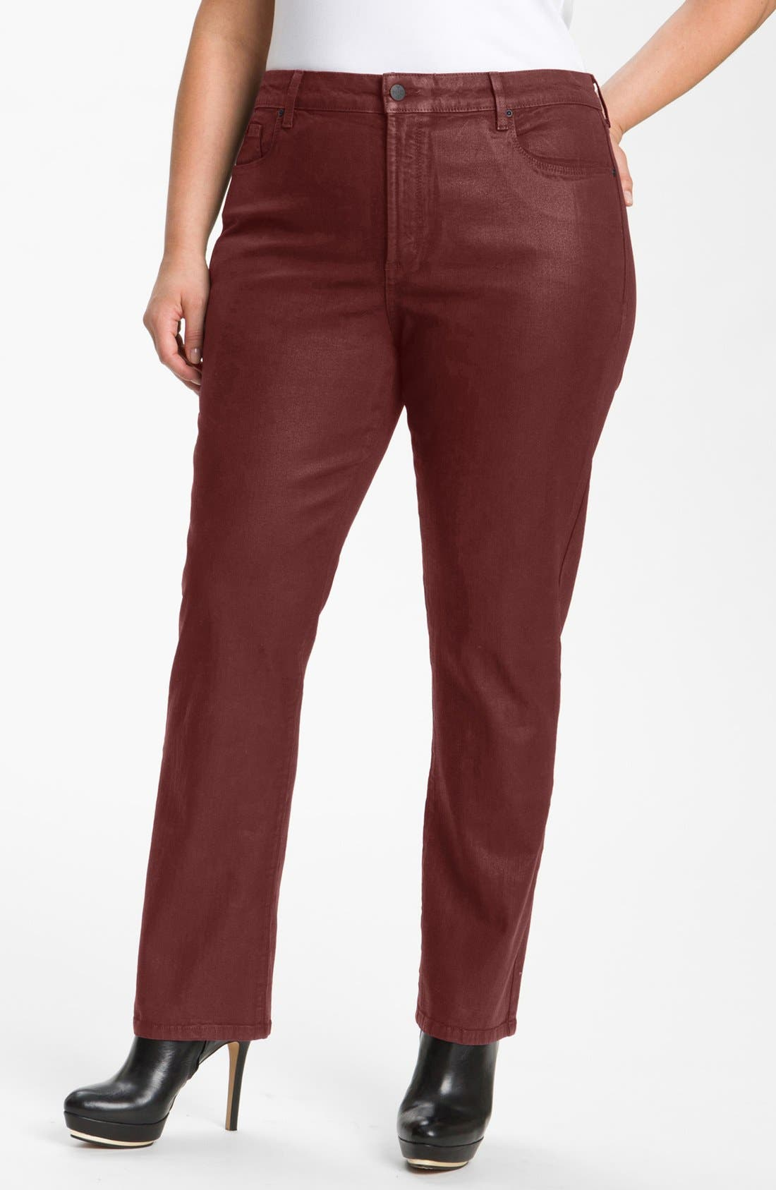 Alternate Image 1 Selected - NYDJ 'Sheri' Coated Stretch Skinny Jeans (Plus)