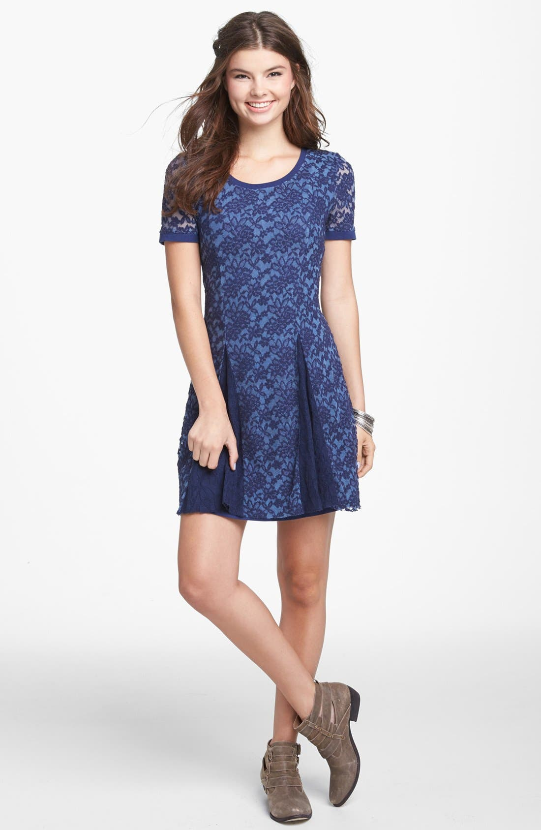 Alternate Image 1 Selected - Rubbish® 'Humble' Lace Fit & Flare Dress (Juniors)