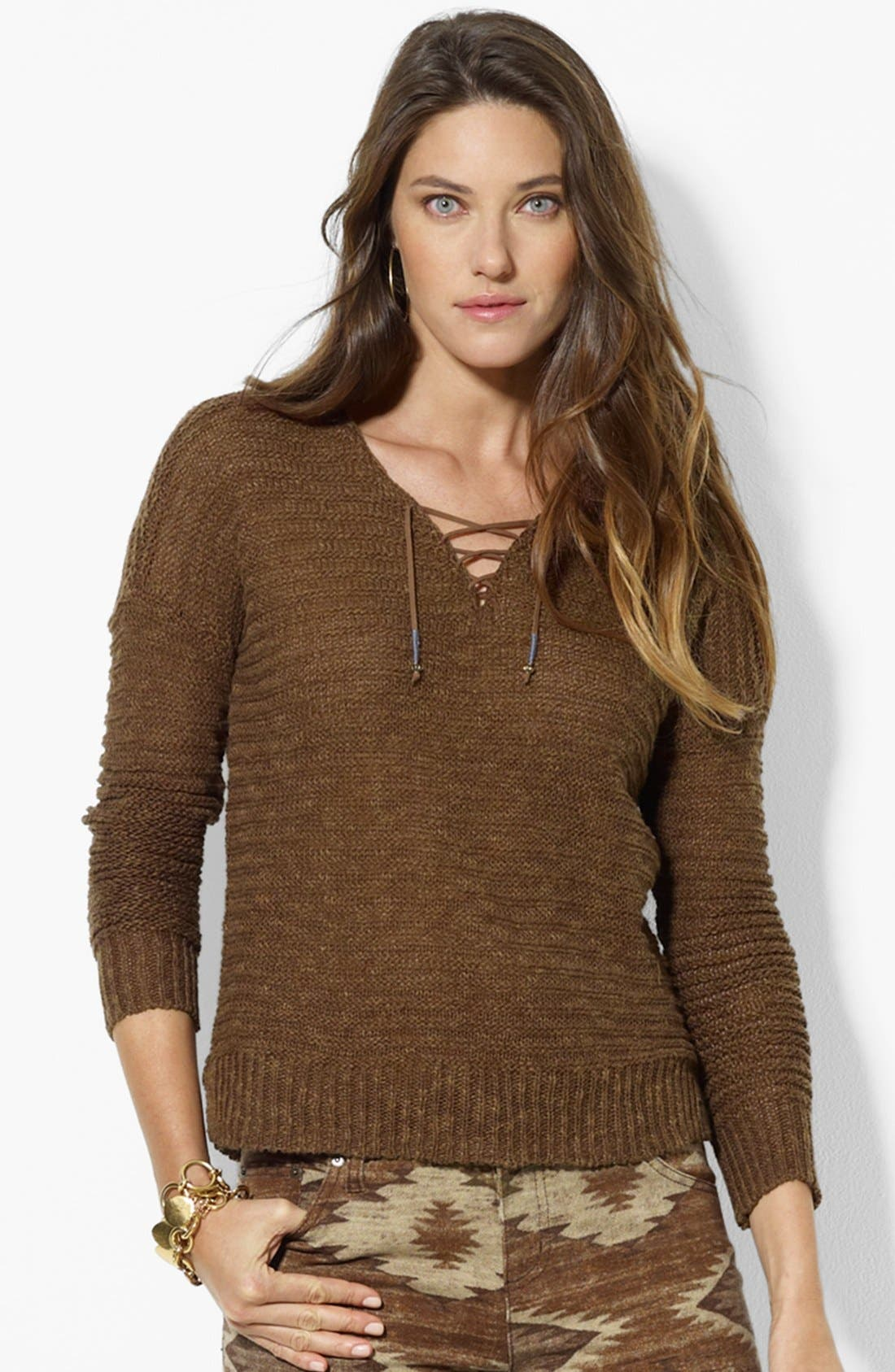 Main Image - Lauren Ralph Lauren Lace-Up Rib Knit Sweater