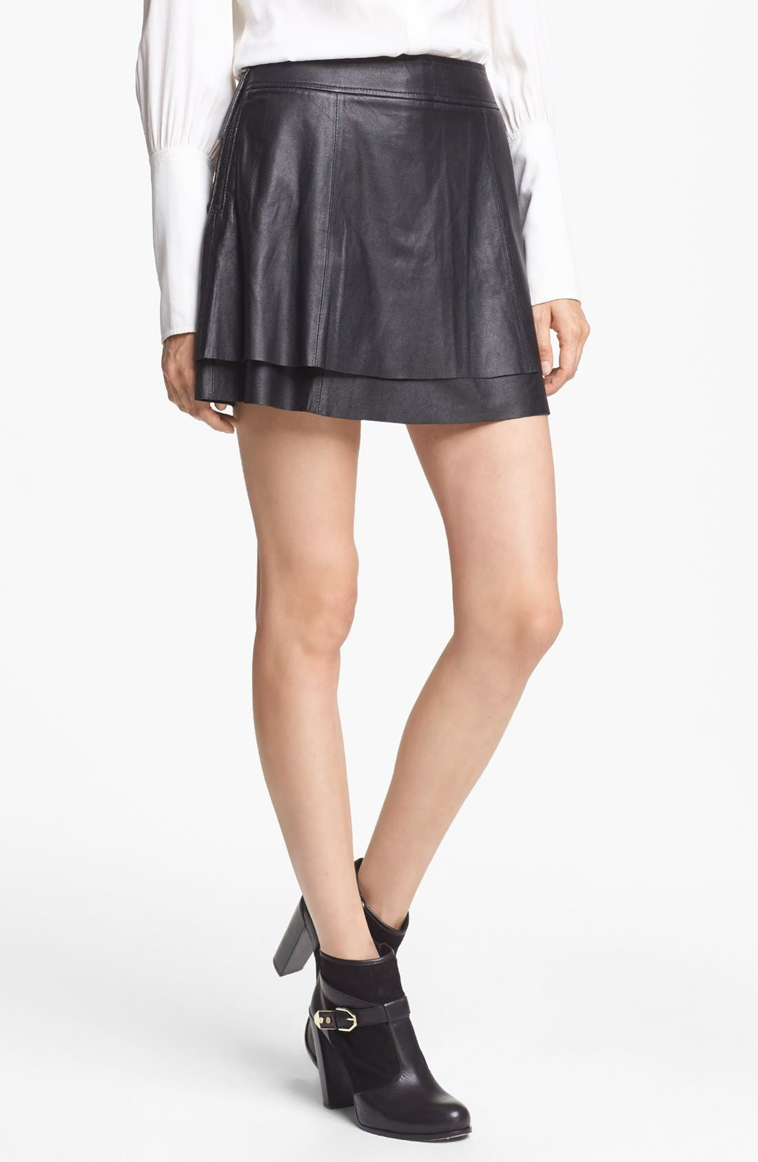 Alternate Image 1 Selected - Rachel Zoe 'Venice' Lambskin Leather Miniskirt