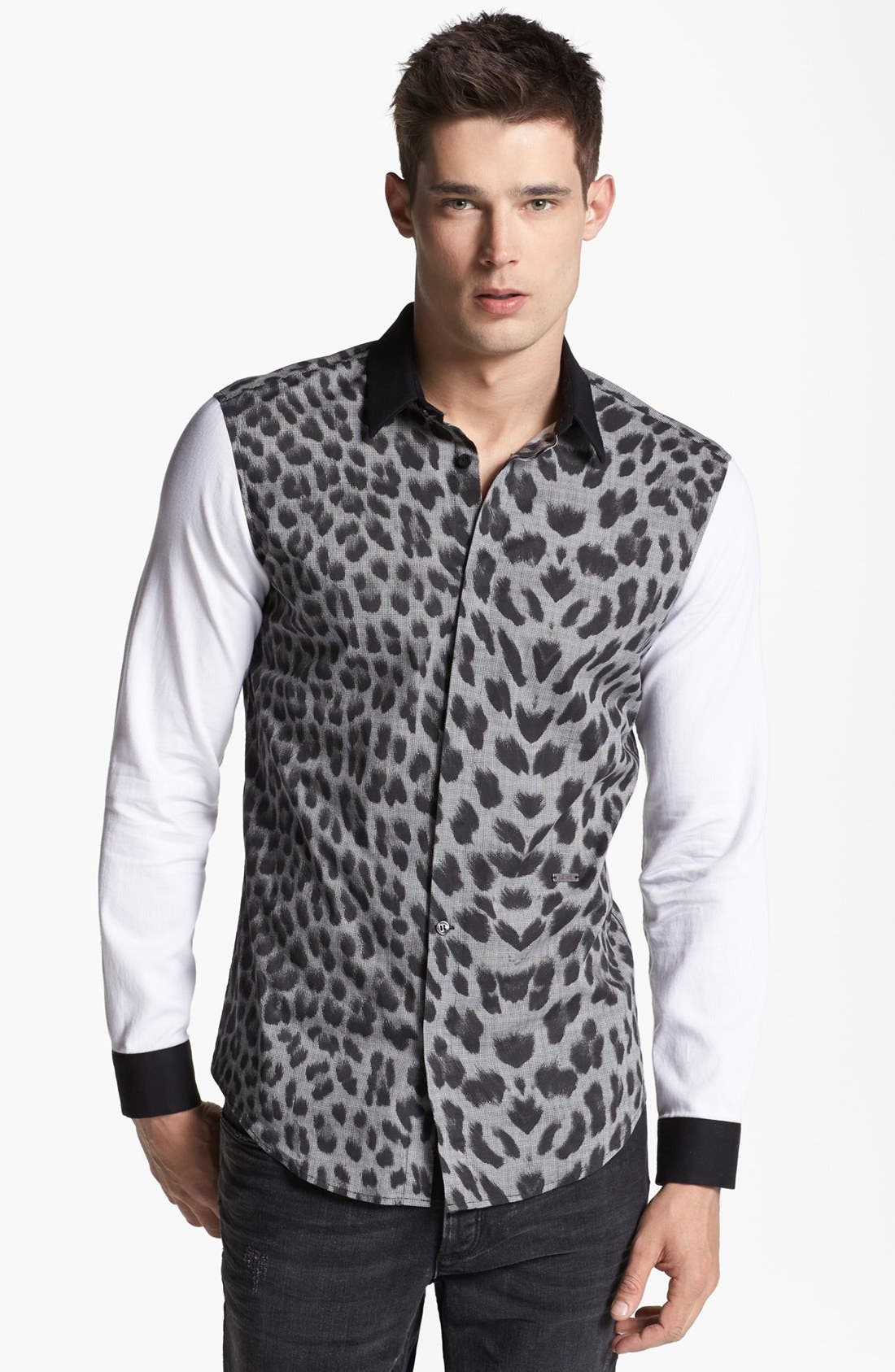 Alternate Image 1 Selected - Just Cavalli Leopard Print Sport Shirt