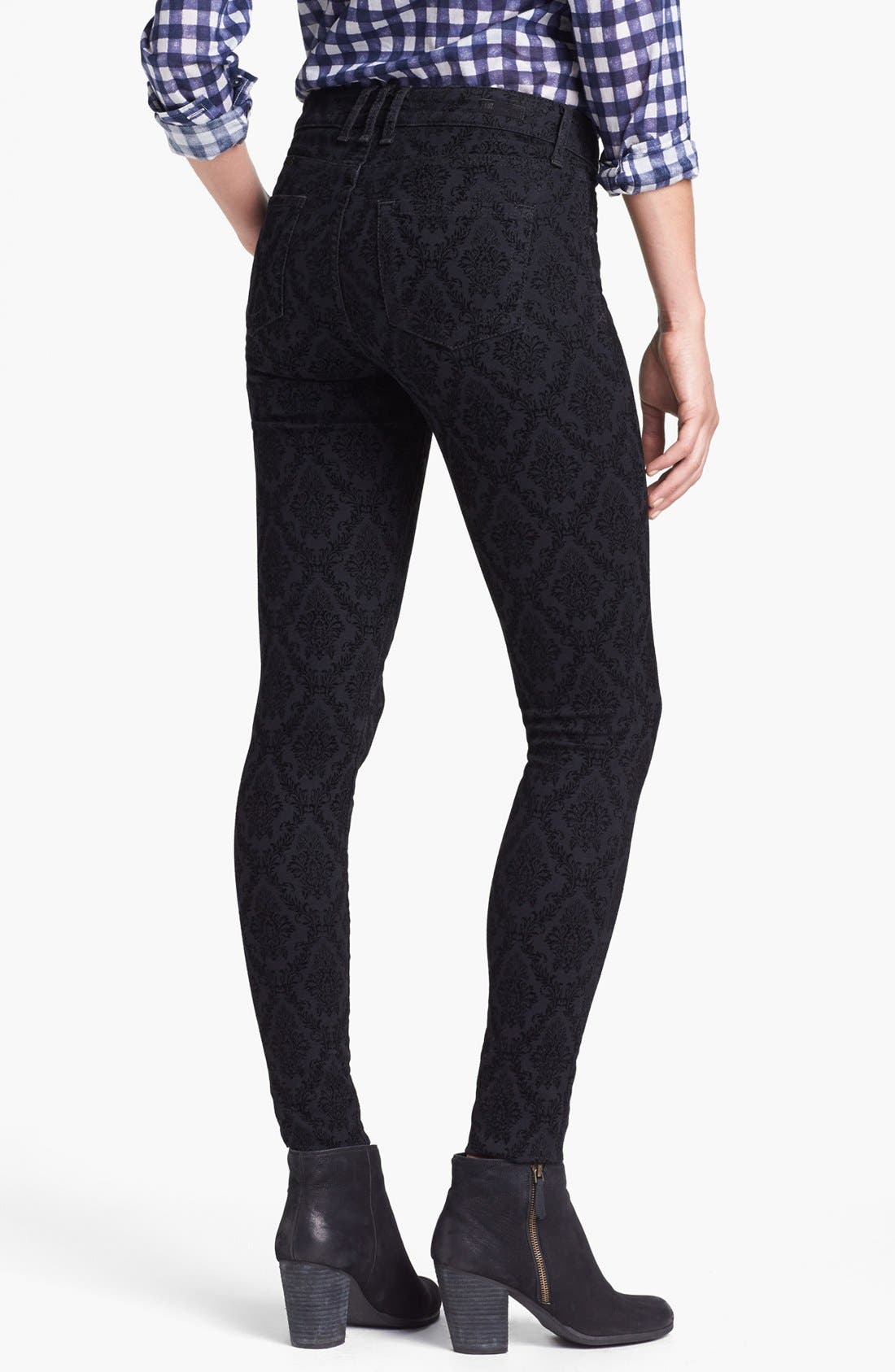 Alternate Image 2  - KUT from the Kloth Print Skinny Jeans (Black Brocade Print)