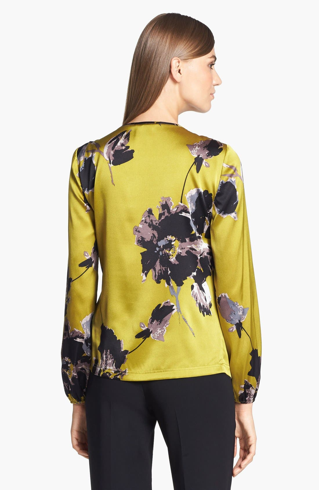 Alternate Image 3  - St. John Collection Bouquet Print Silk Charmeuse Blouse