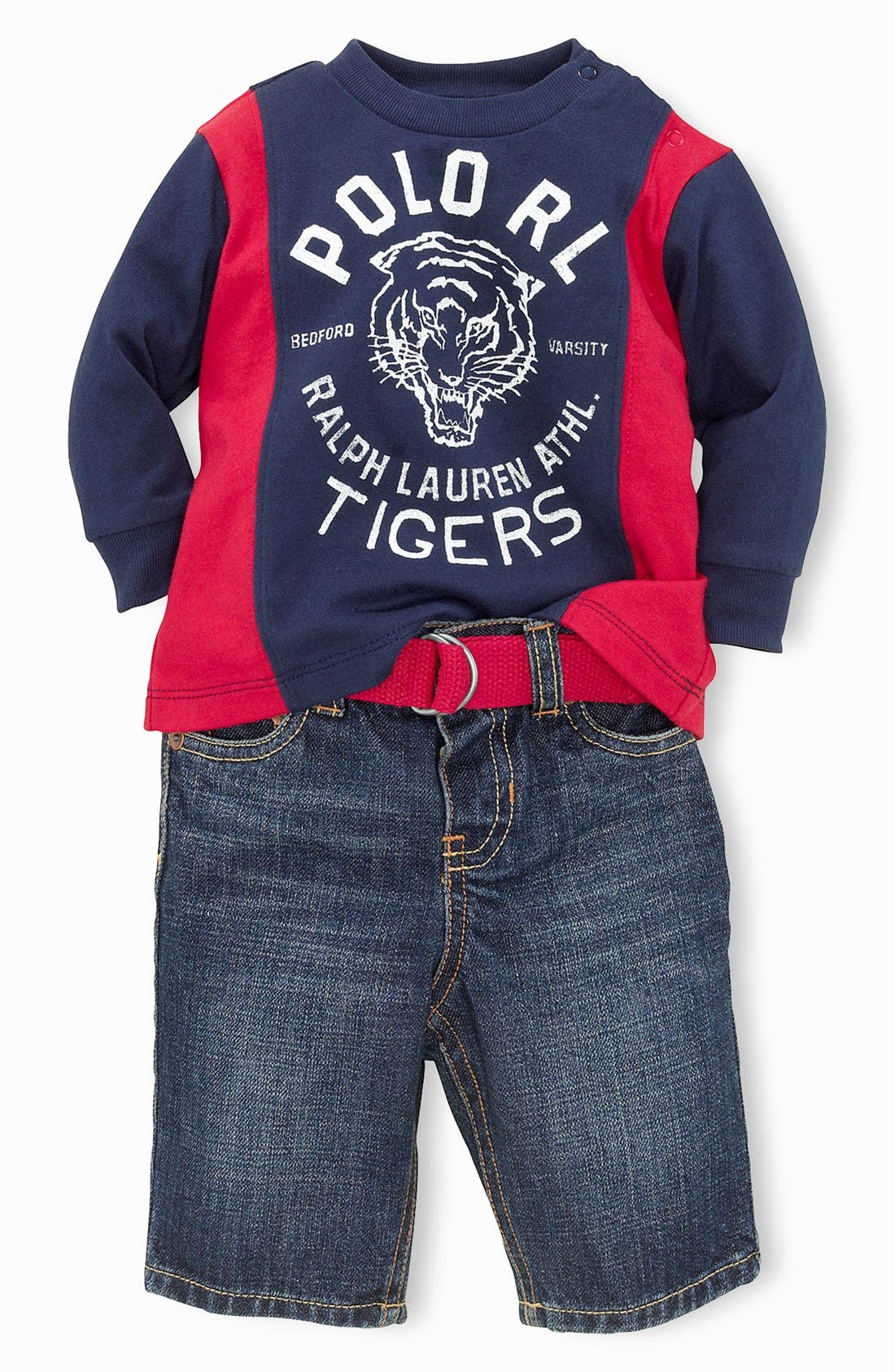 Alternate Image 1 Selected - Ralph Lauren T-Shirt & Jeans (Baby Boys)
