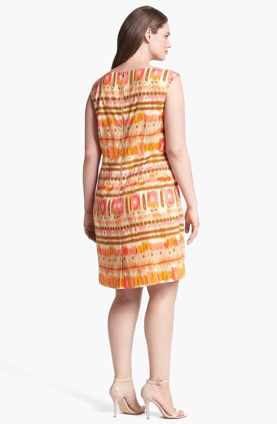 Alternate Image 2  - Tahari Ikat Print Sheath Dress (Plus Size)