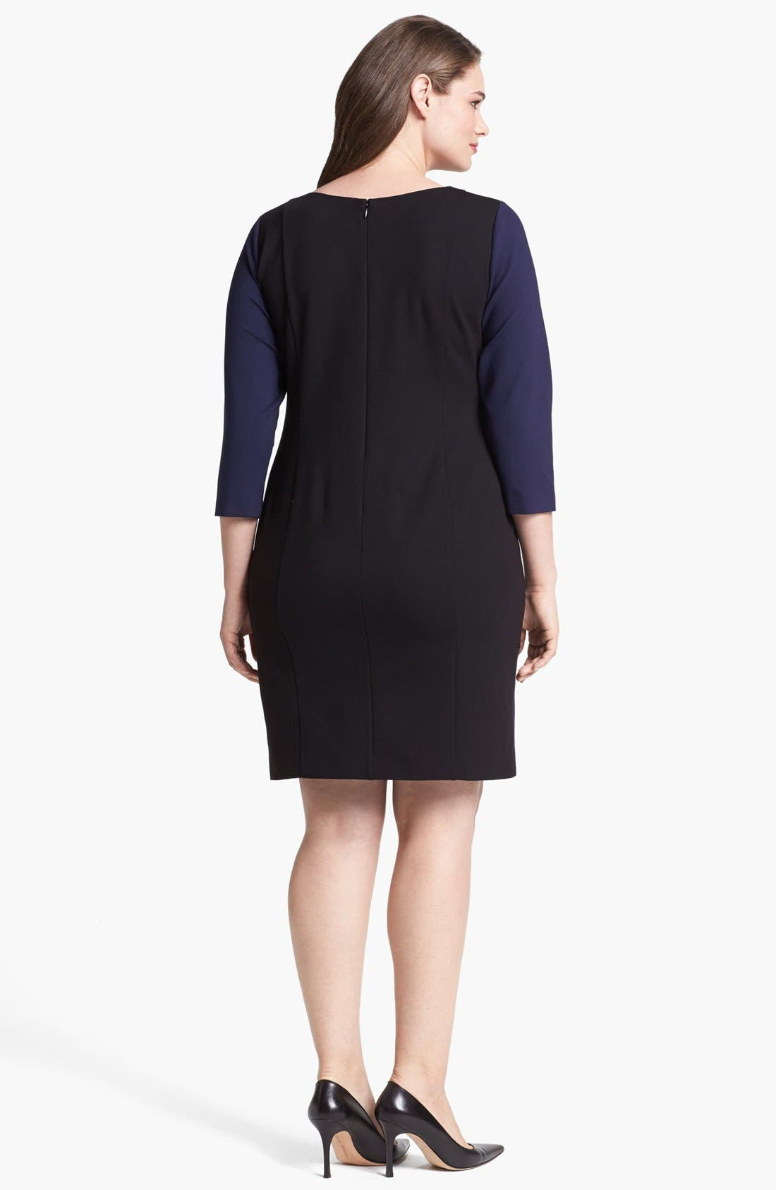 Alternate Image 2  - DKNYC Faux Leather Trim Shift Dress (Plus Size)