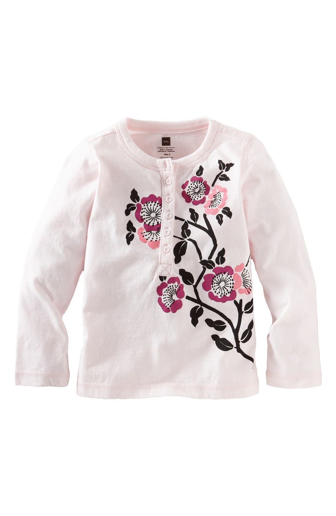 Alternate Image 1 Selected - Tea Collection Floral Screenprint Henley (Little Girls & Big Girls)