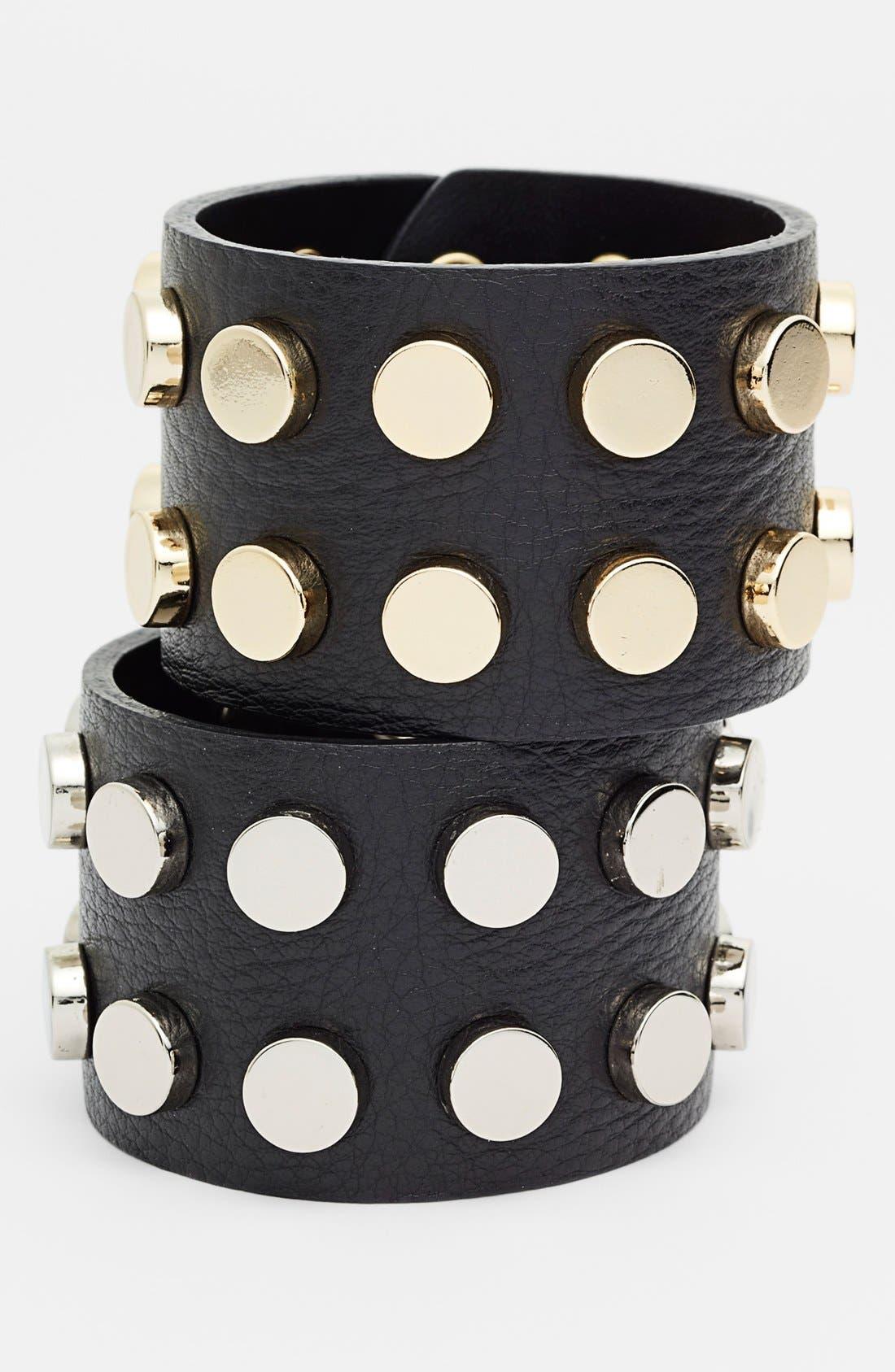 Alternate Image 2  - Cara Studded Leather Cuff