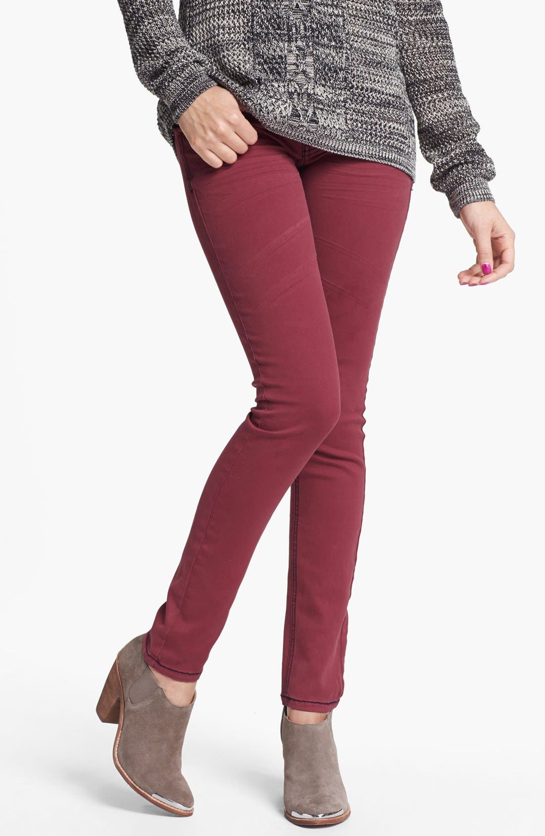 Alternate Image 1 Selected - Fire Overdyed Skinny Jeans (Pinot) (Juniors)