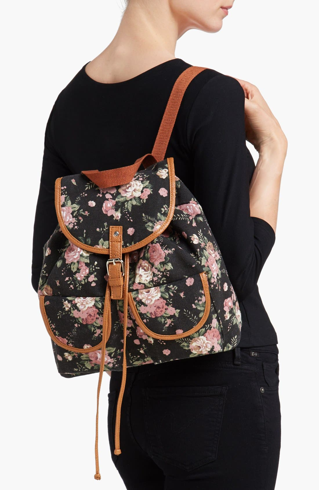 Alternate Image 2  - Amici Accessories Rose Print Canvas Backpack (Juniors) (Online Only)