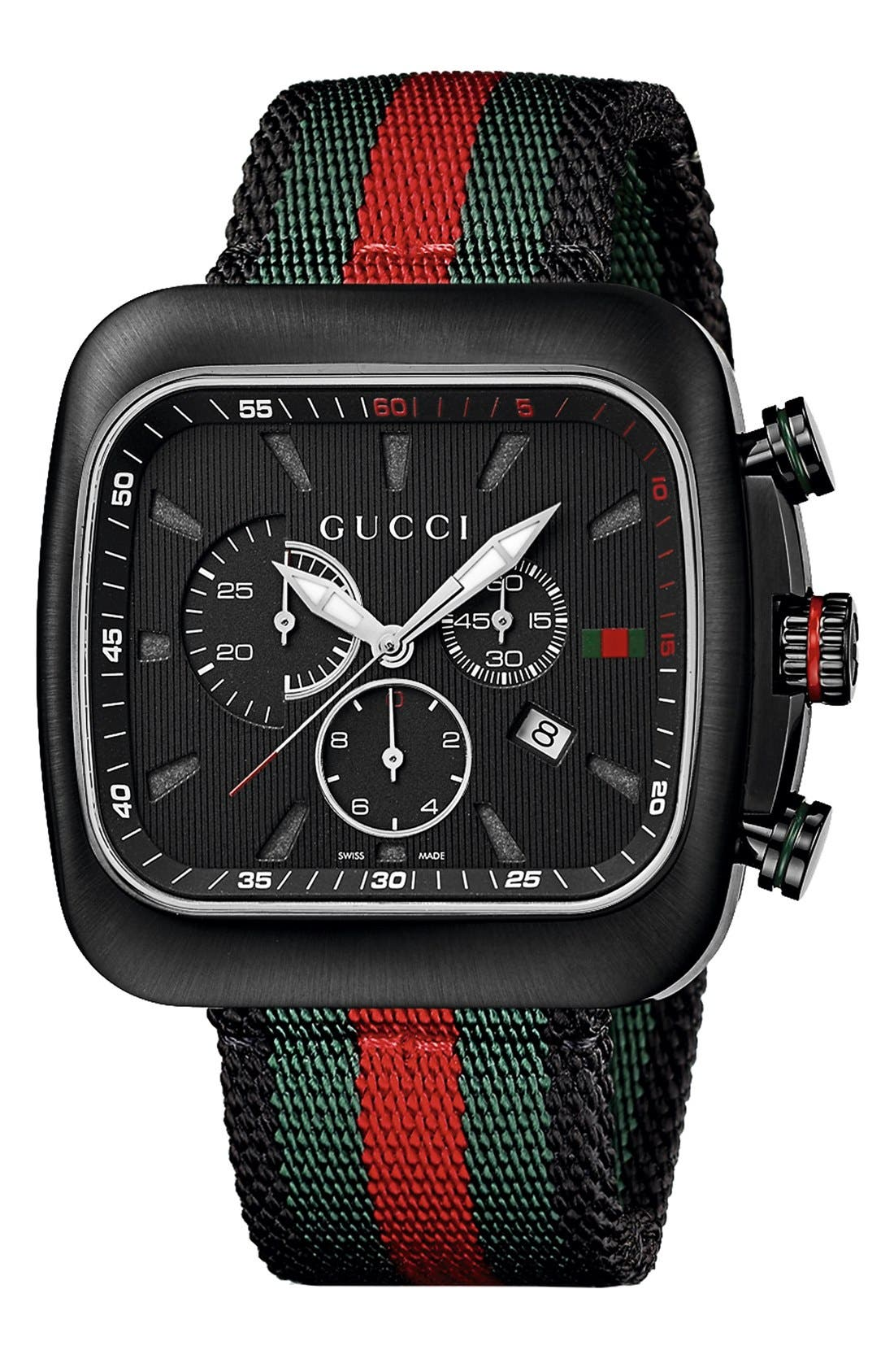 Alternate Image 1 Selected - Gucci 'Coupé' Chronograph Nylon Strap Watch, 44mm