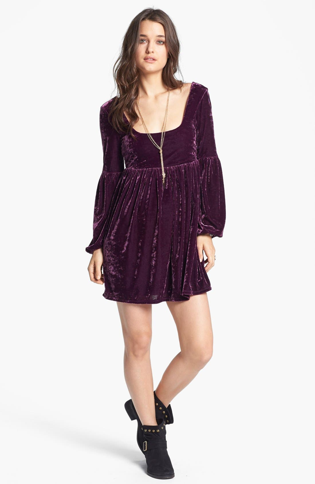 Main Image - Free People 'Oh So Easy' Velvet Babydoll Dress