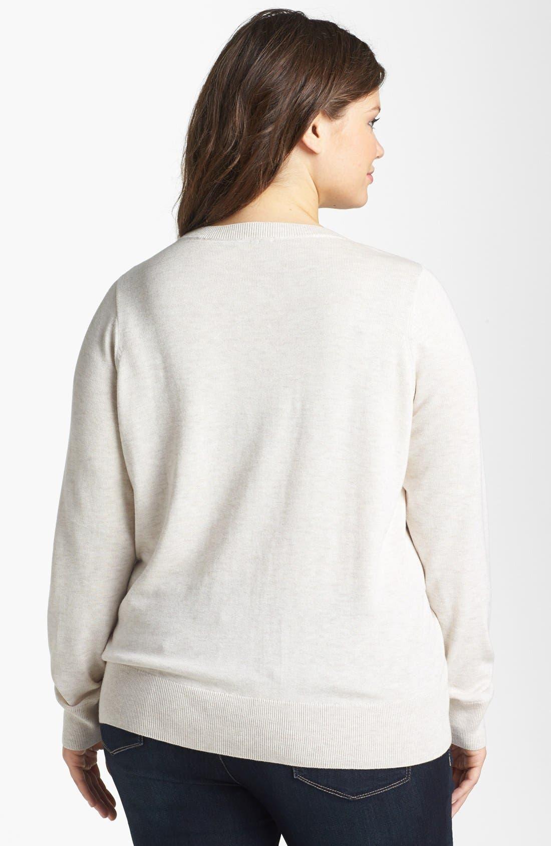 Alternate Image 2  - Halogen® Intarsia Crewneck Sweater (Plus Size)