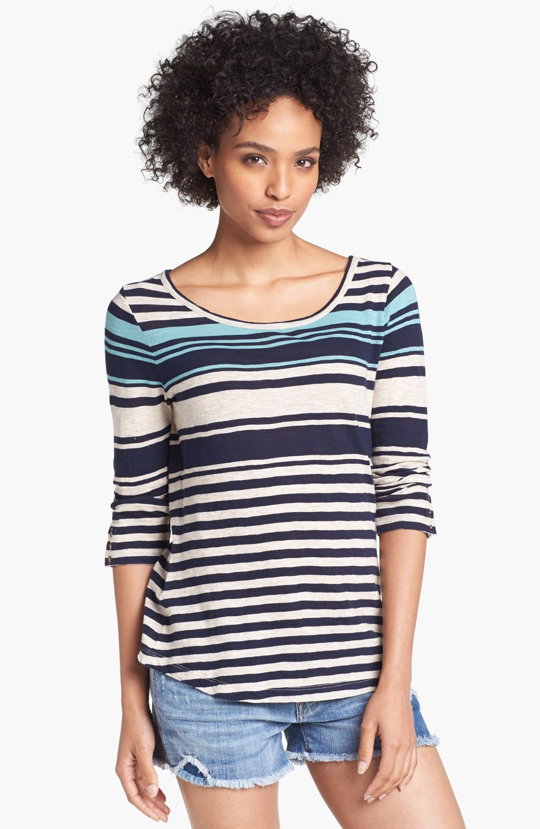 Alternate Image 1 Selected - Lucky Brand 'Anabelle' Variegated Stripe Tee
