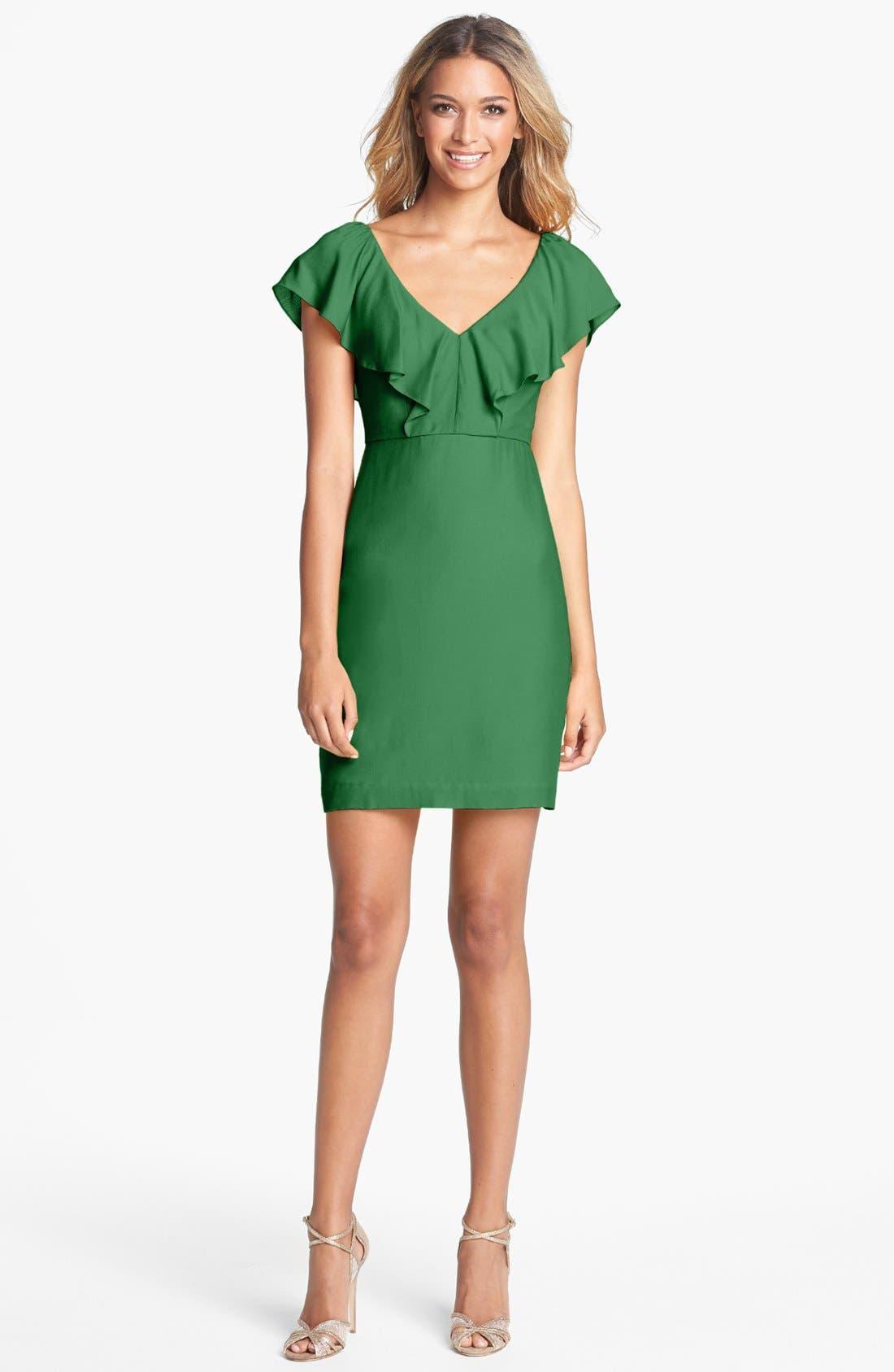 Alternate Image 3  - Jenny Yoo 'Gabby' Ruffled Neckline Sheath Dress (Online Only)
