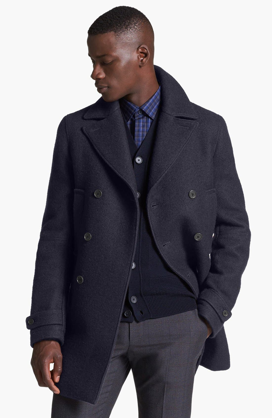 Alternate Image 1 Selected - Z Zegna Double Breasted Peacoat