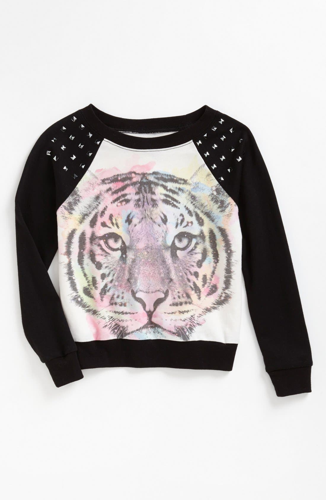 Alternate Image 1 Selected - Modern Lux Graphic Raglan Top (Big Girls)