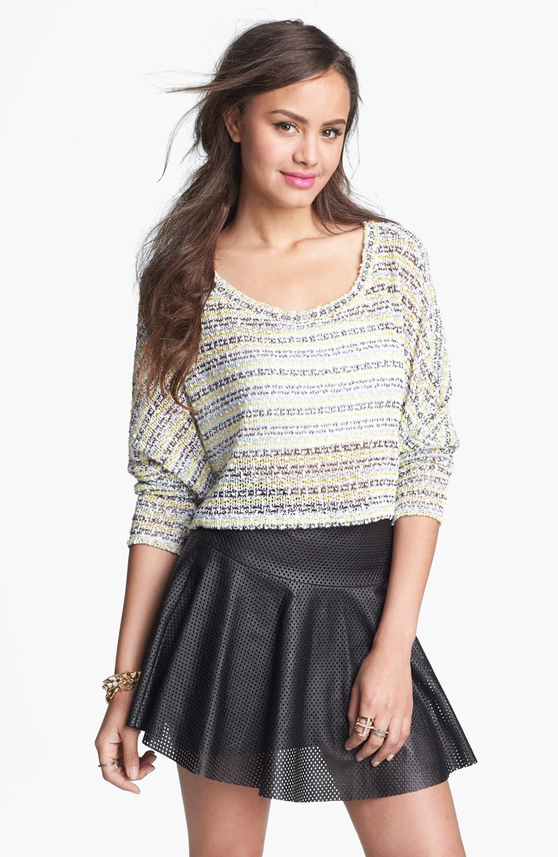 Alternate Image 1 Selected - Painted Threads Swing Crop Sweater (Juniors)