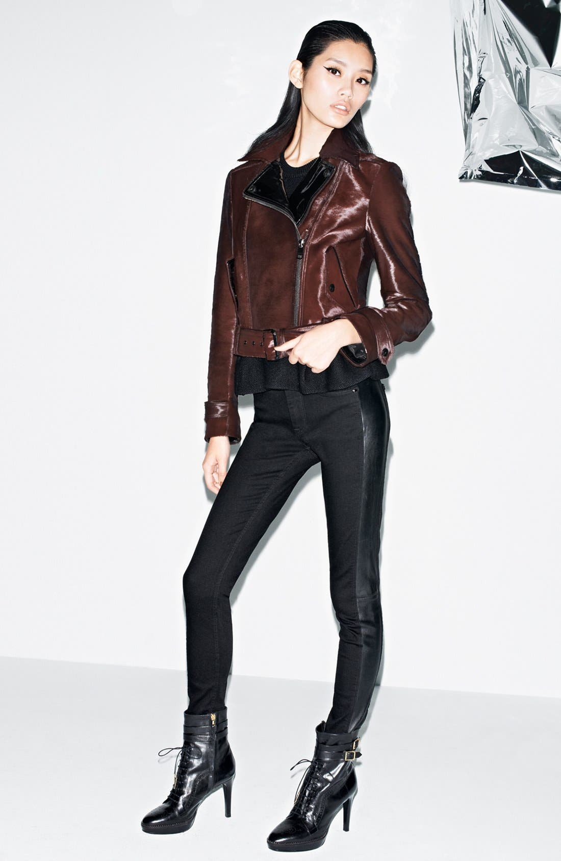 Main Image - Burberry London Moto Jacket, Sweater & Jeans