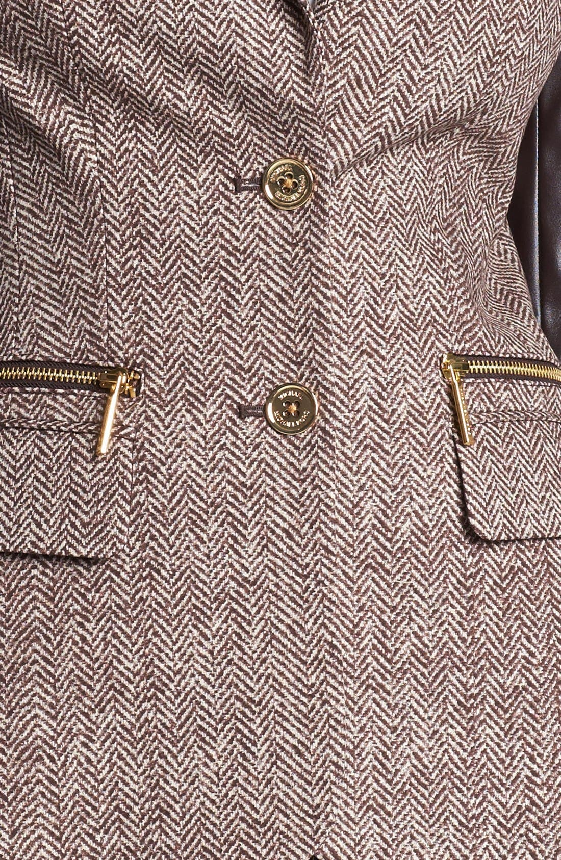 Alternate Image 3  - MICHAEL Michael Kors Faux Leather Sleeve Tweed Blazer