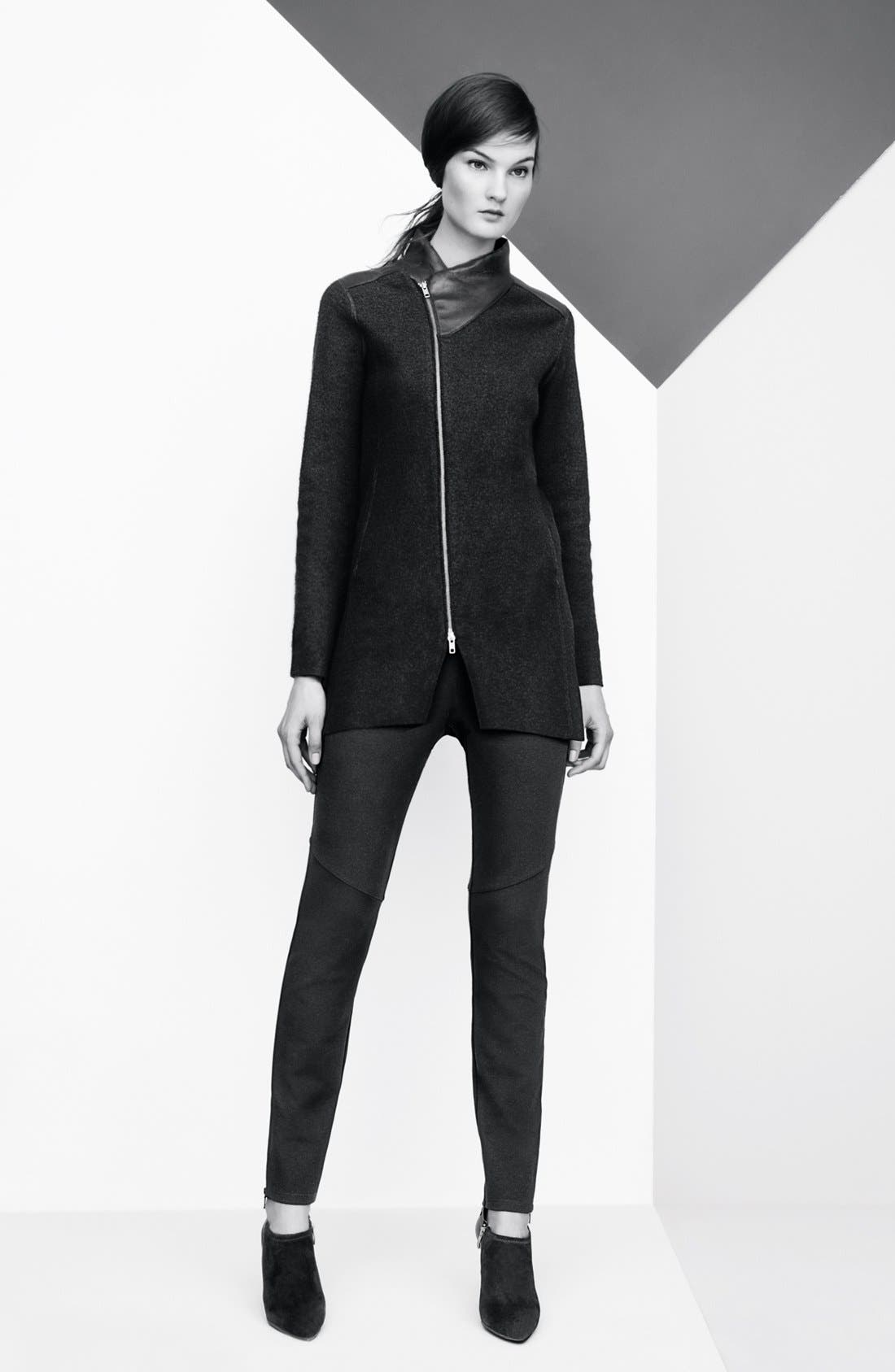 Alternate Image 5  - Eileen Fisher Leather Trim Boiled Wool Jacket
