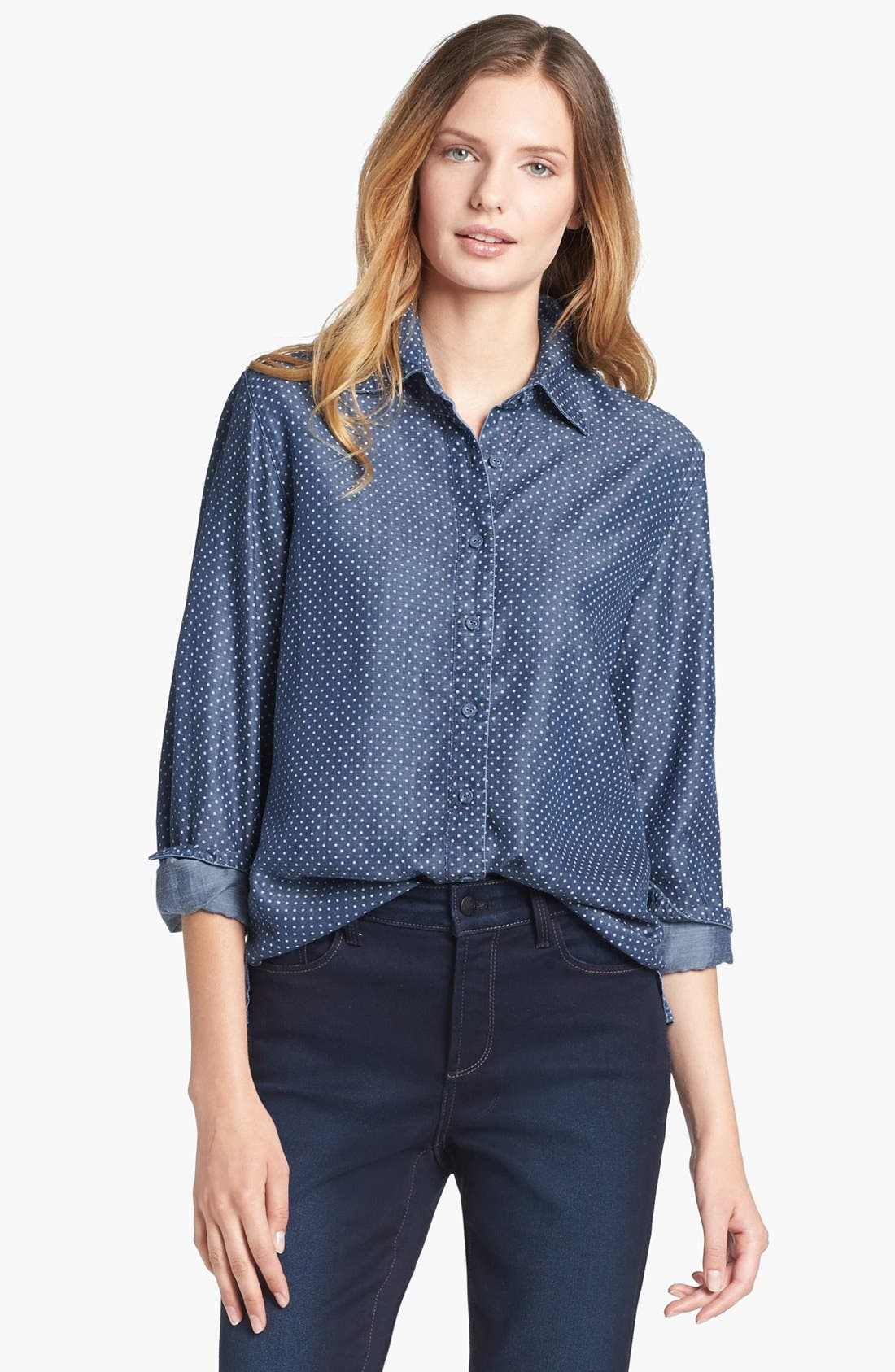 Alternate Image 1 Selected - Foxcroft Dotted Denim Shirt