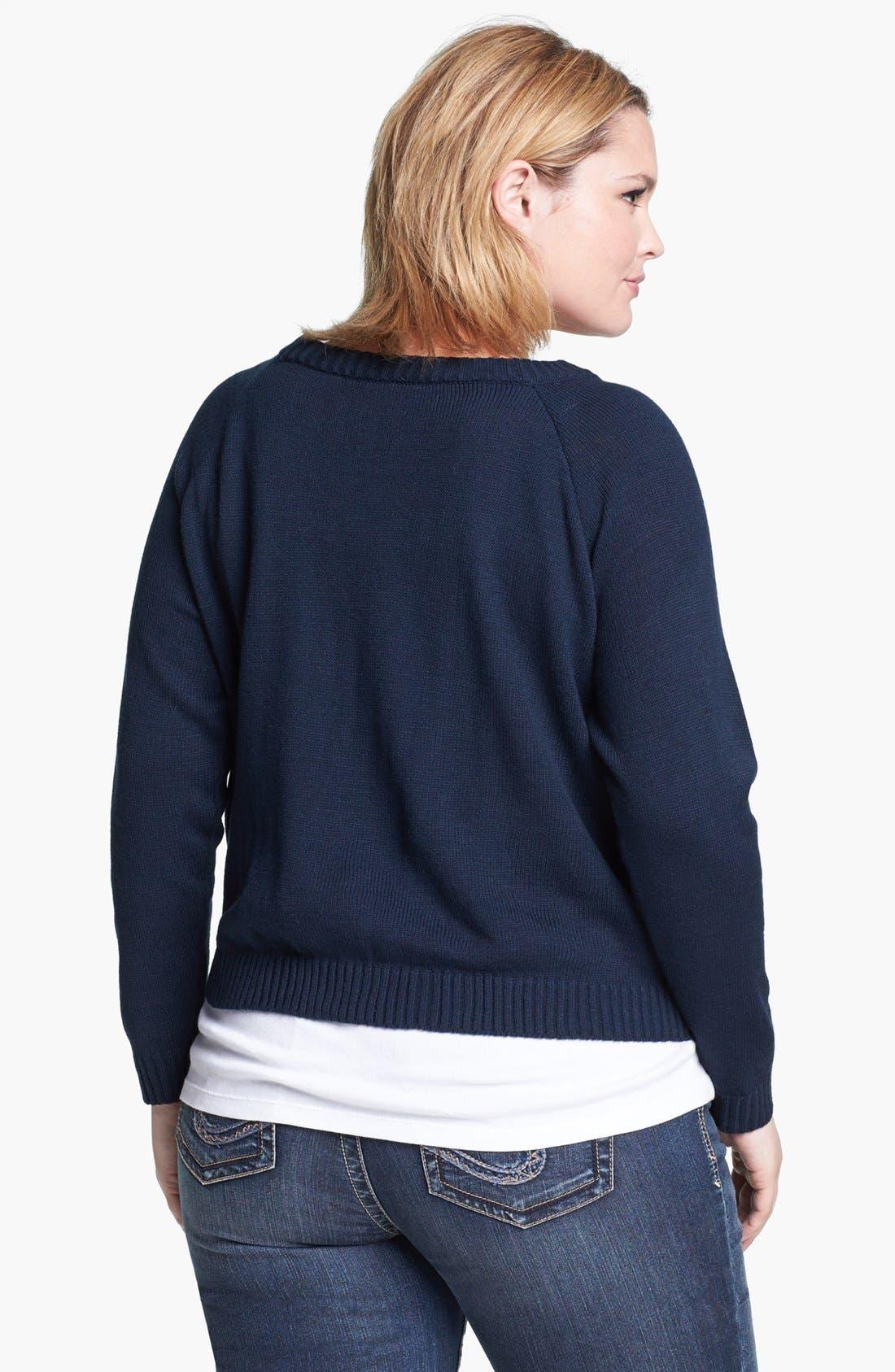 Alternate Image 2  - Love By Design 'Love' Raglan Sleeve Sweater (Juniors Plus)