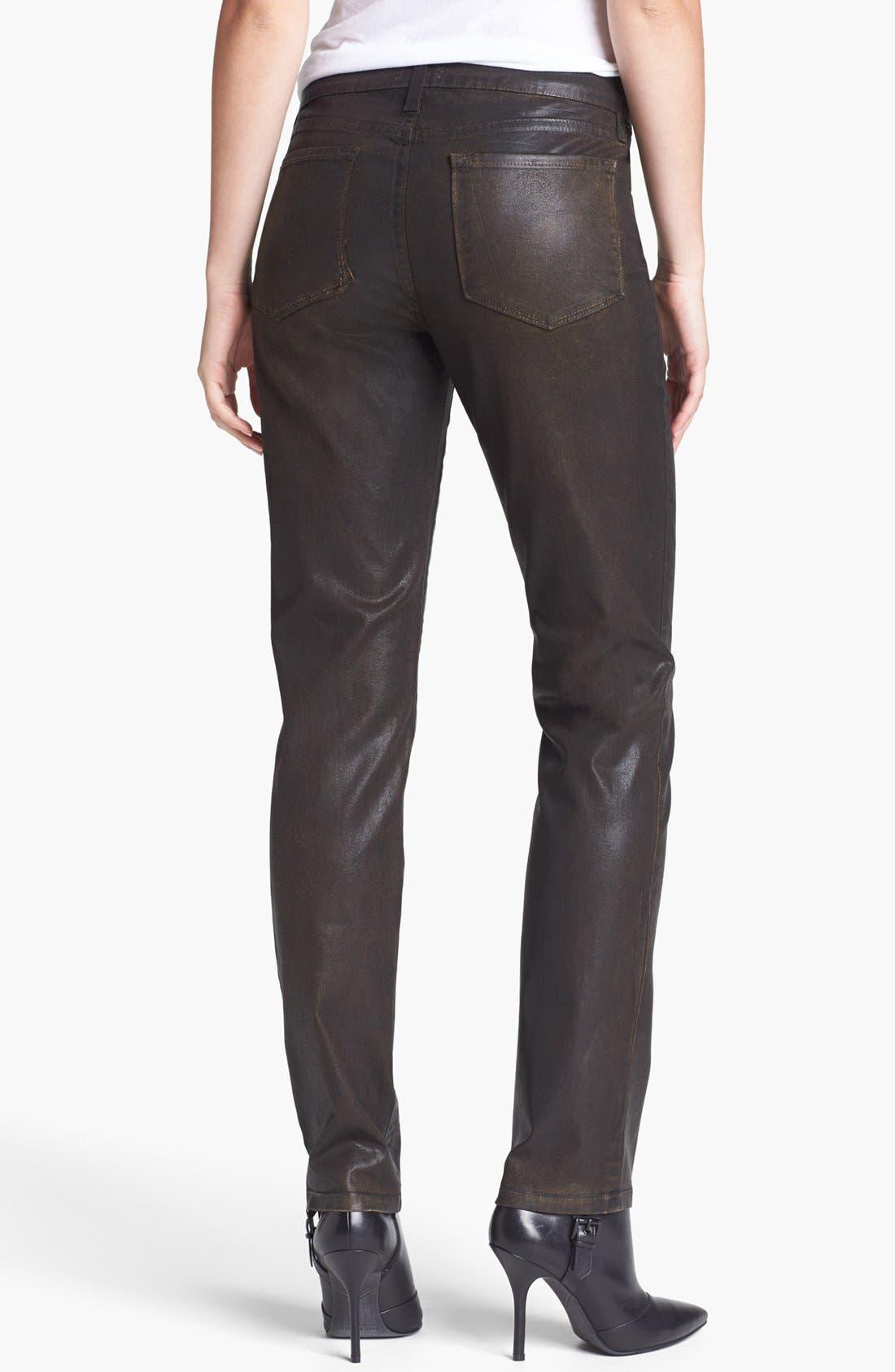 Alternate Image 2  - NYDJ 'Sheri' Coated Stretch Skinny Jeans (Beat Leather)
