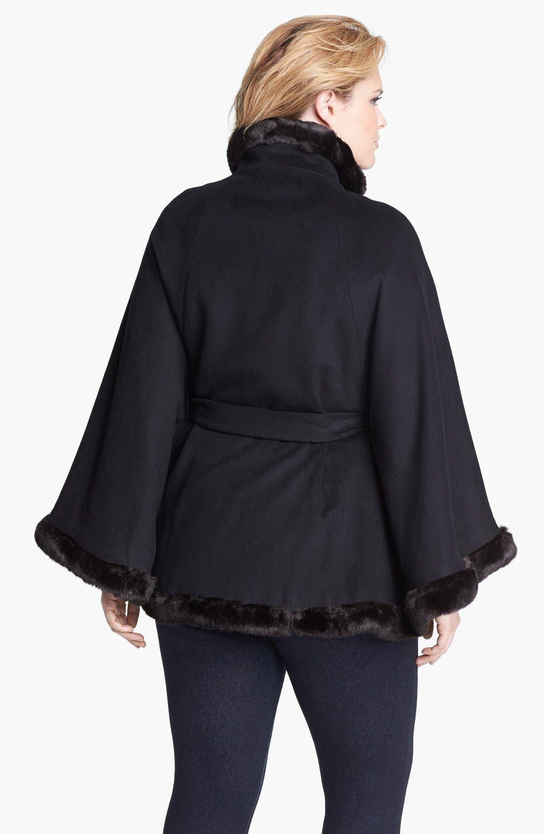 Alternate Image 2  - Ellen Tracy Faux Fur Trim Belted Cape (Plus Size)