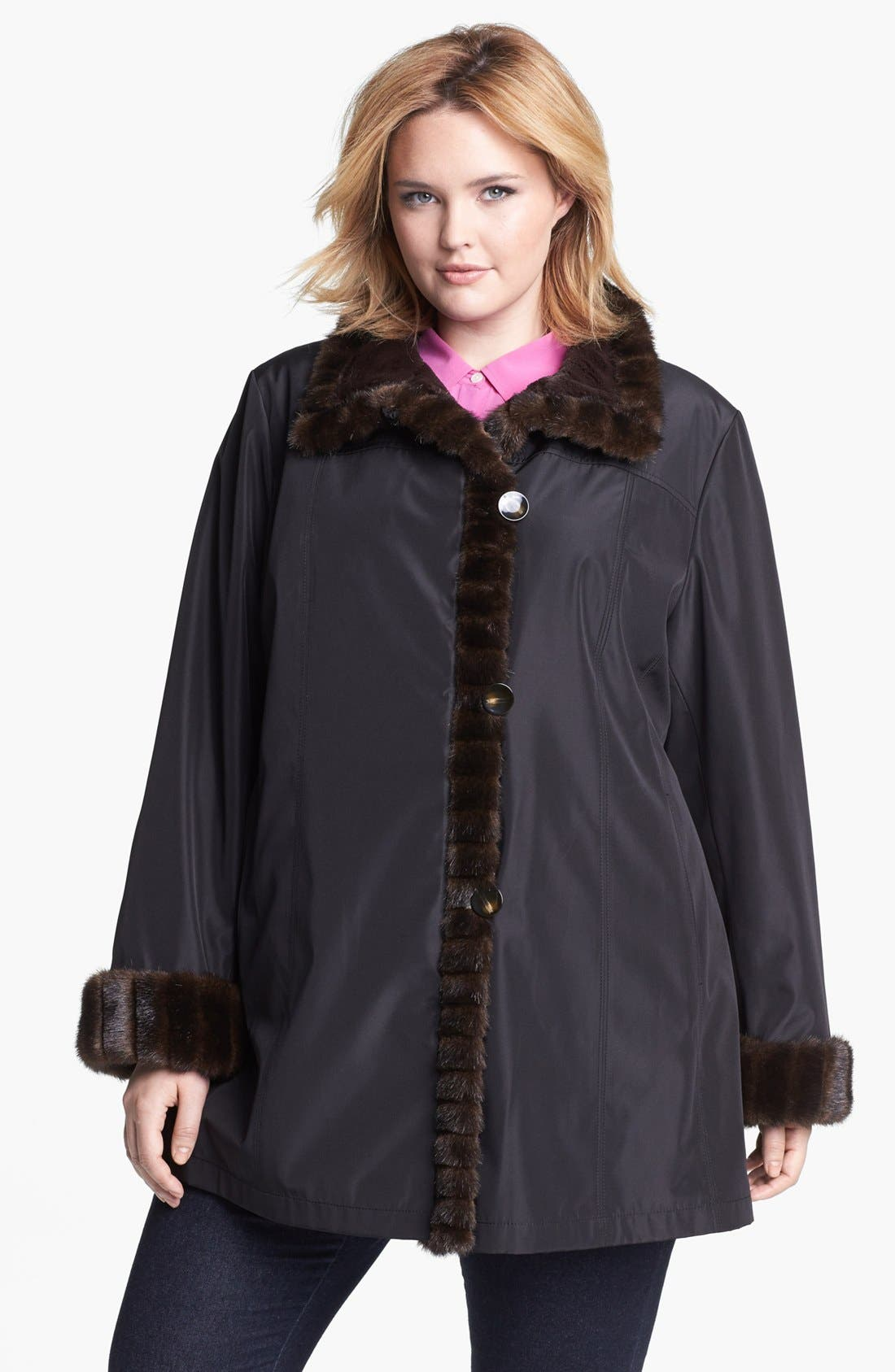 Alternate Image 1  - Gallery Storm Coat with Faux Fur Lining & Trim (Plus Size)