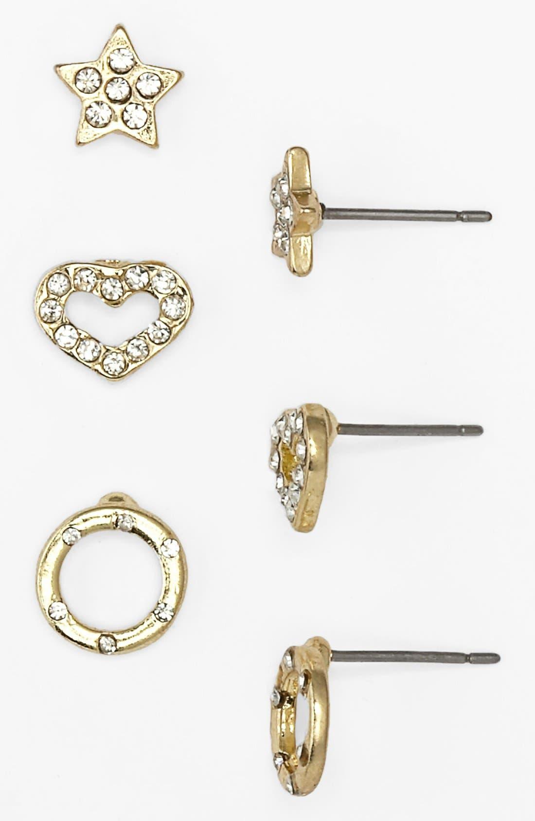 Main Image - Carole 'Bling' Stud Earrings (3-Pack) (Juniors)