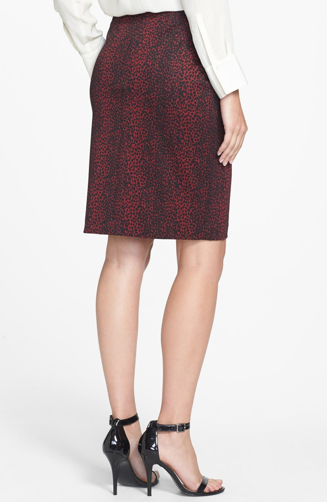 Alternate Image 2  - Chaus Faux Leather Trim Print Pencil Skirt