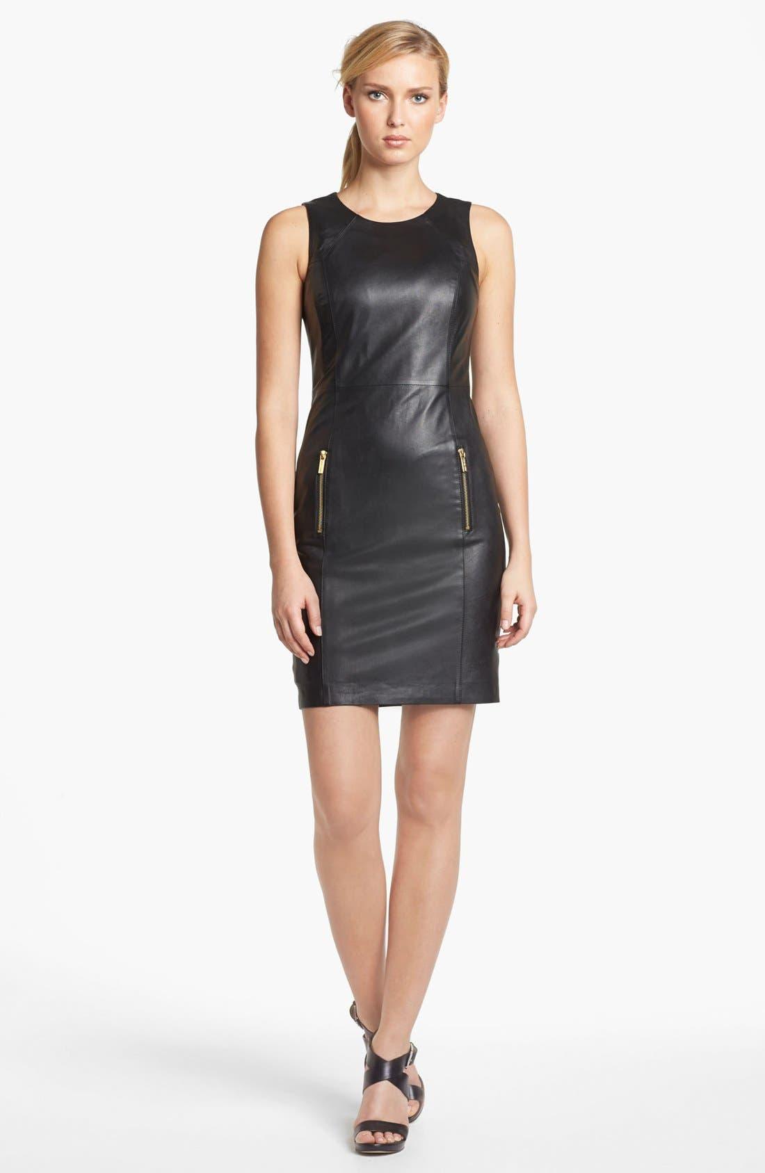 Main Image - MICHAEL Michael Kors Sleeveless Leather Sheath Dress