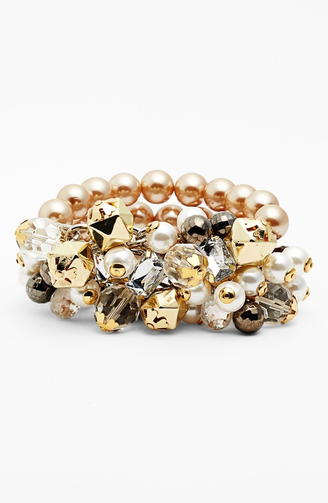 Alternate Image 1 Selected - Adia Kibur Chunky Faux Pearl Stretch Bracelet