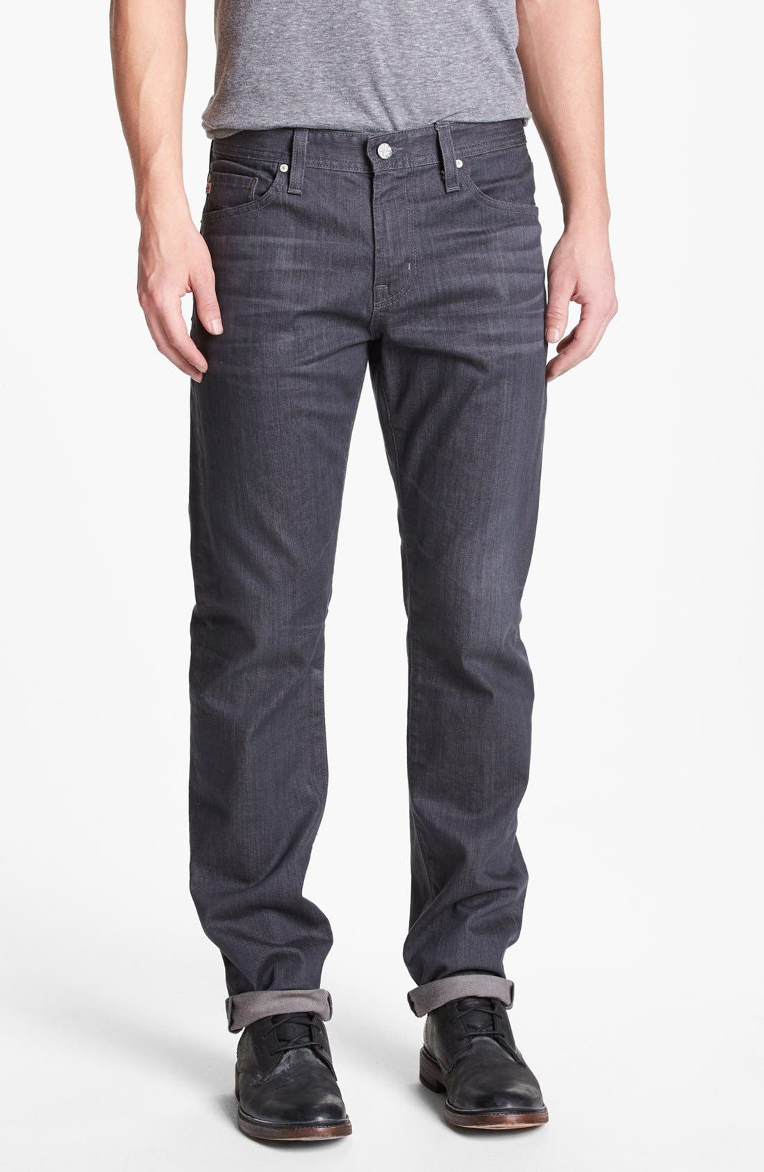 Alternate Image 1 Selected - AG 'Graduate' Tailored Fit Straight Leg Jeans (1 Year Grey)