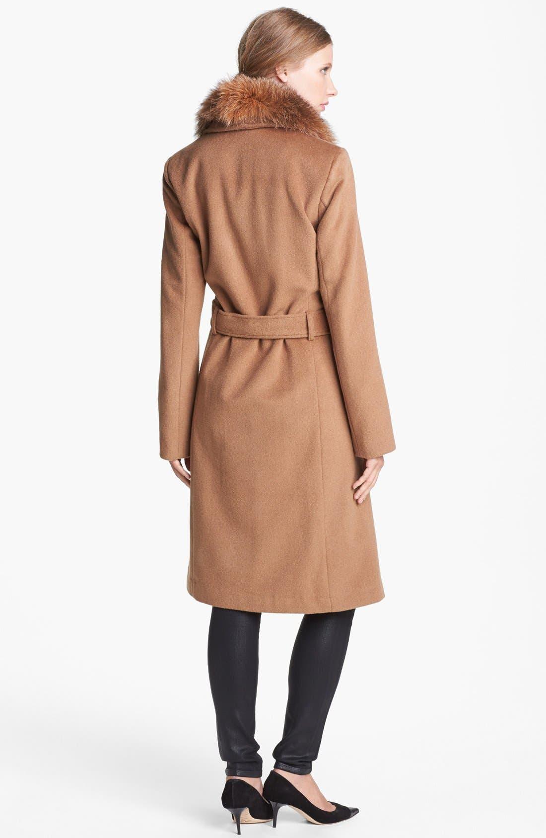 Alternate Image 2  - Ellen Tracy Genuine Fox Fur Trim Belted Long Coat (Regular & Petite) (Online Only)