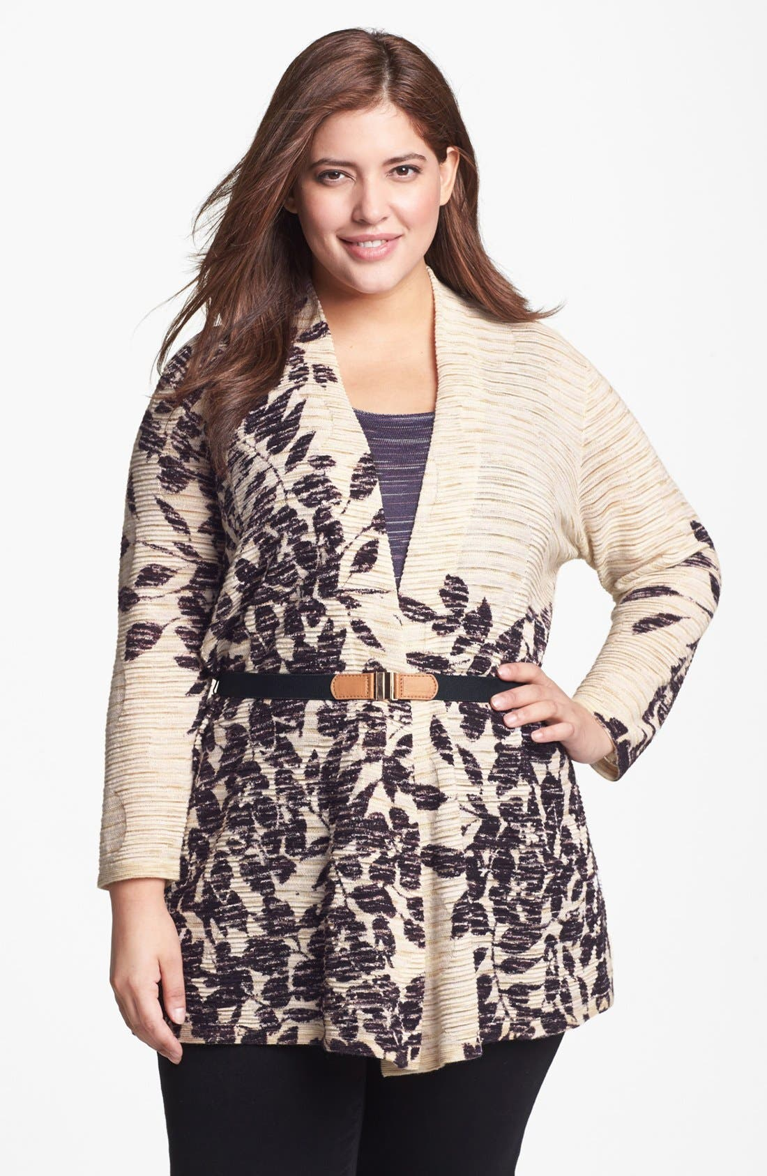 Alternate Image 1 Selected - NIC+ZOE 'Evening Leaves' Cardigan (Plus Size)