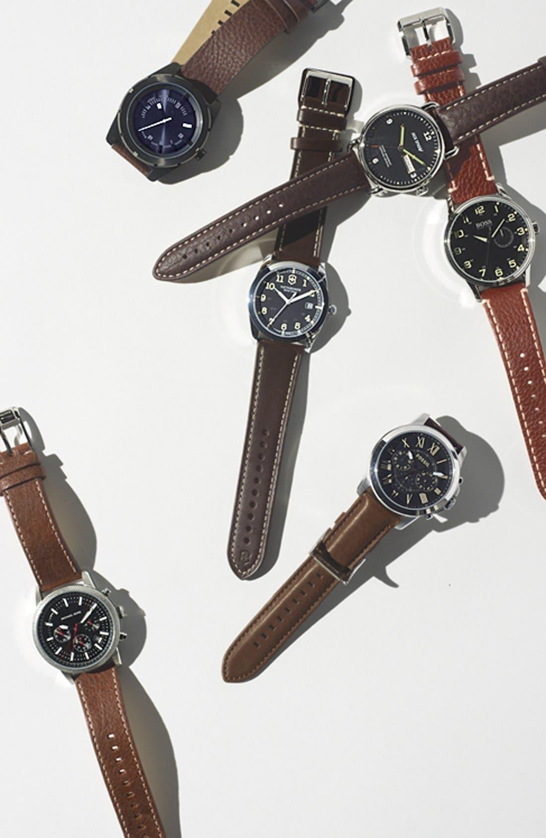 Alternate Image 4  - Jack Spade 'Buckner' Leather Strap Watch, 42mm
